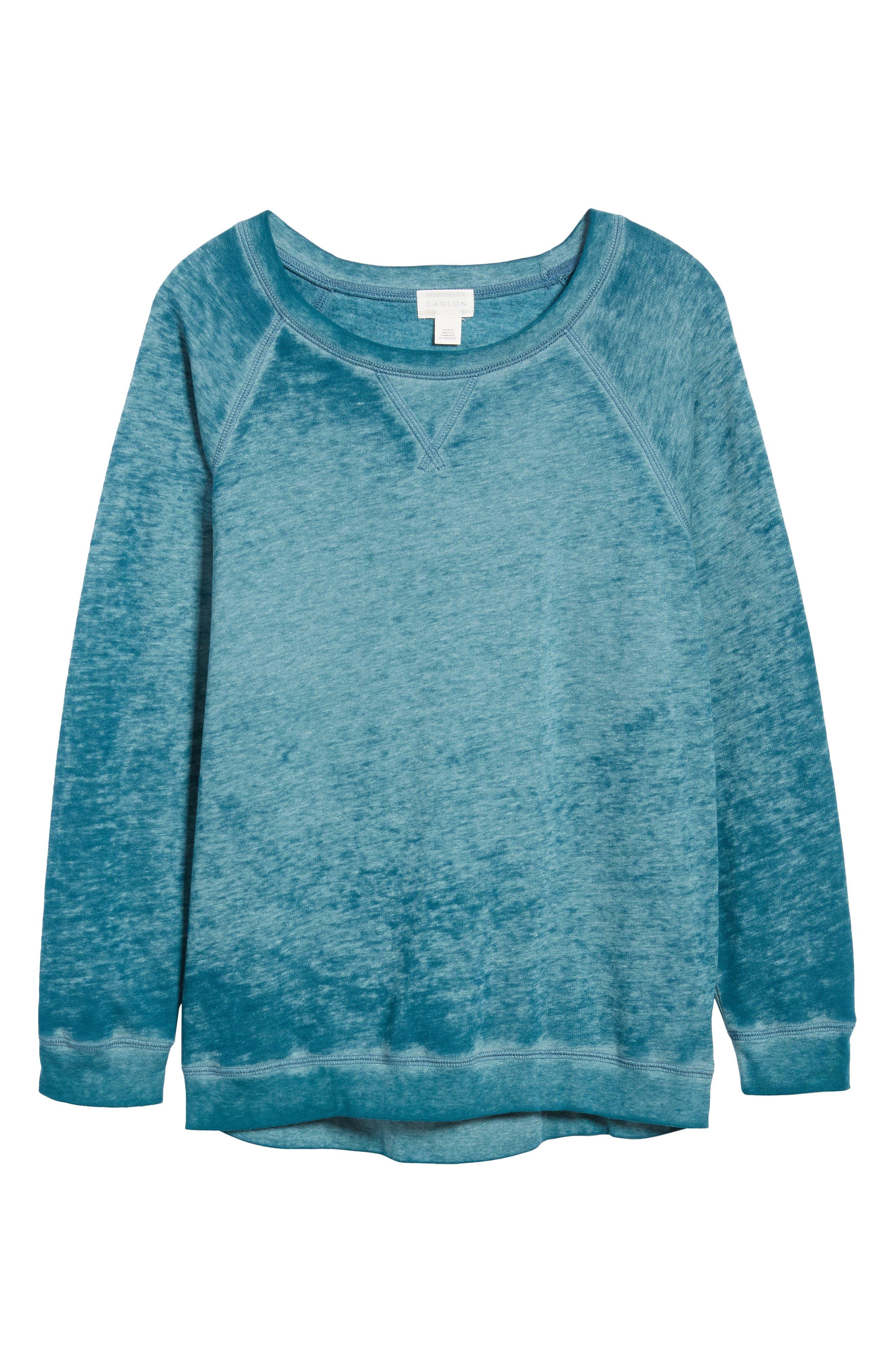 Burnout Sweatshirt,                             Alternate thumbnail 6, color,                             TEAL CORAL