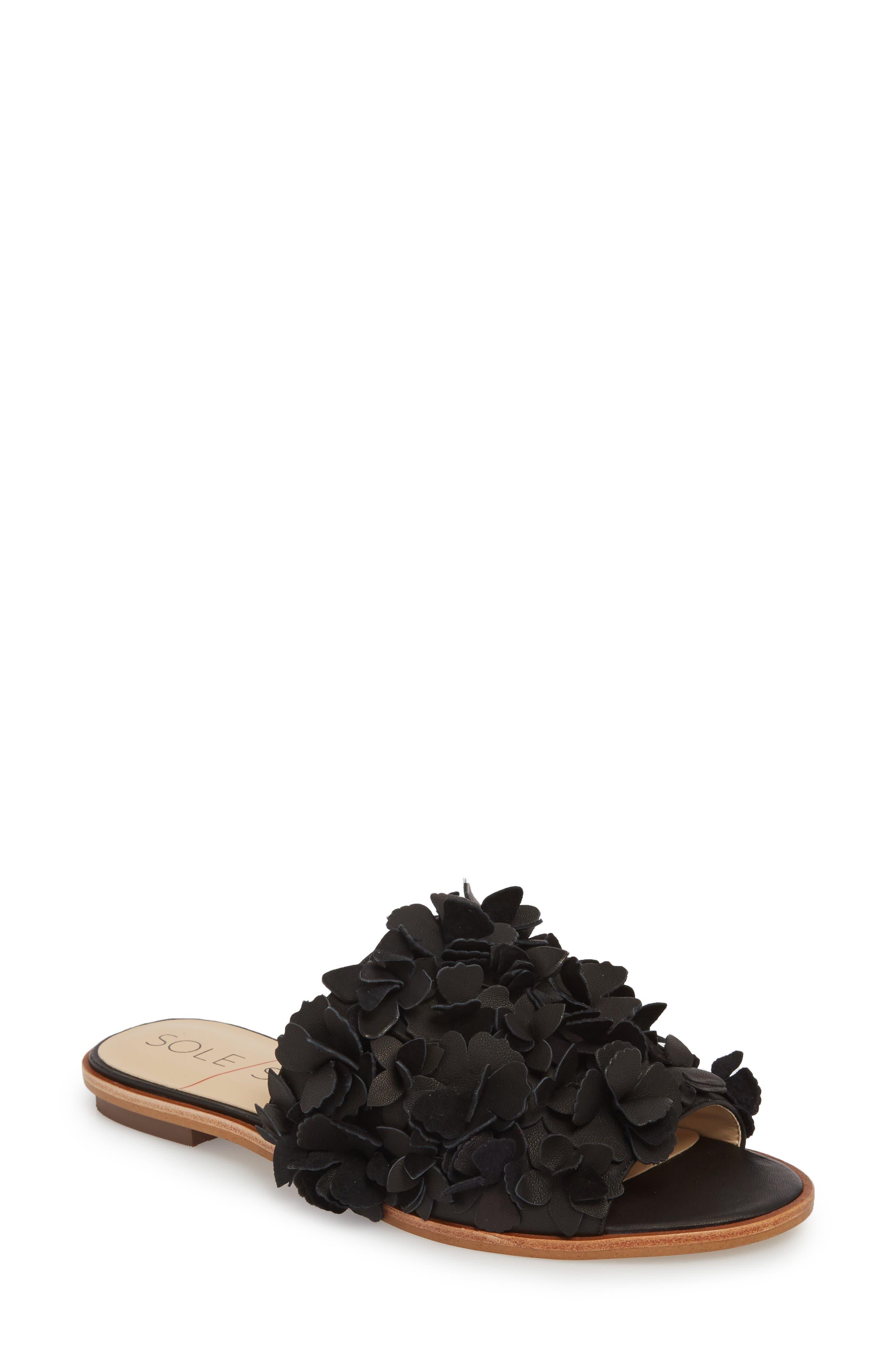 Caelyn Embellished Flat Sandal,                             Main thumbnail 1, color,                             BLACK