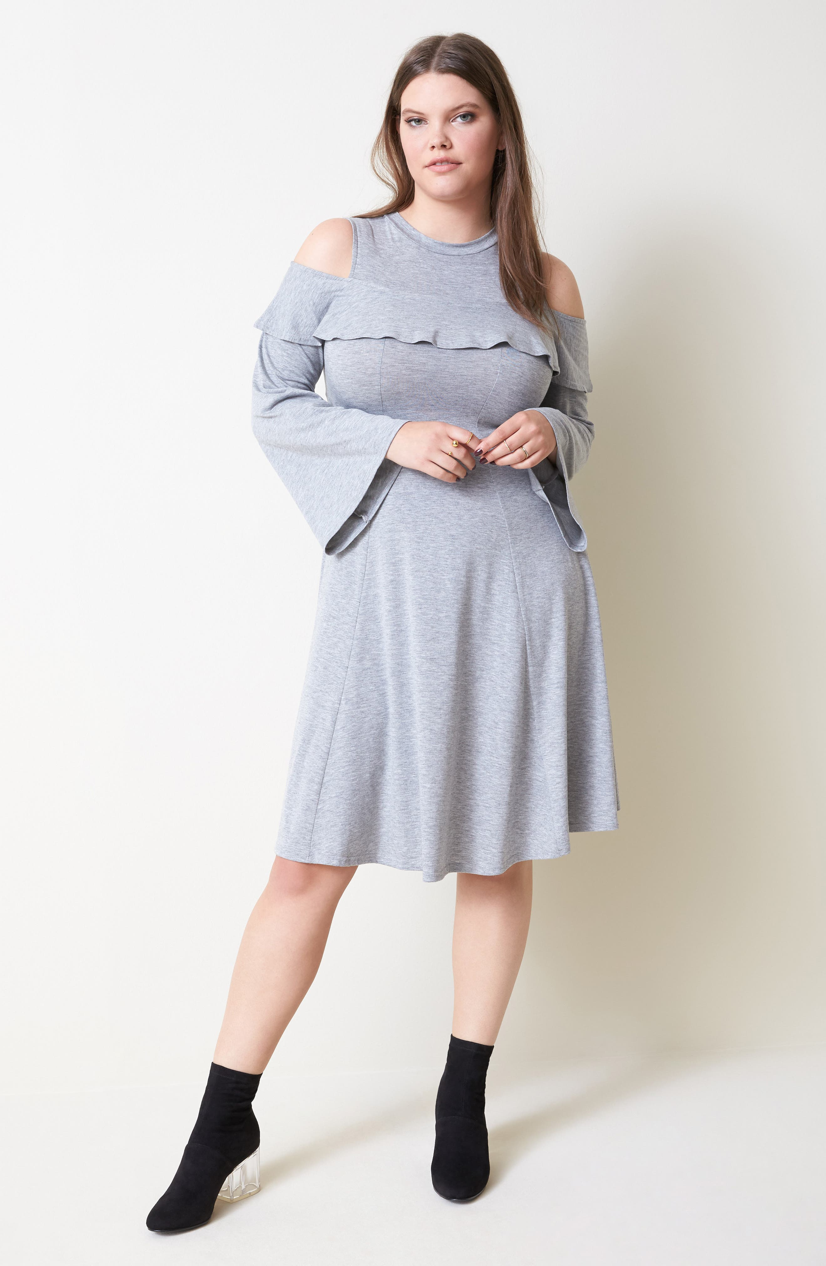 Jersey Fit & Flare Dress,                             Alternate thumbnail 8, color,                             020