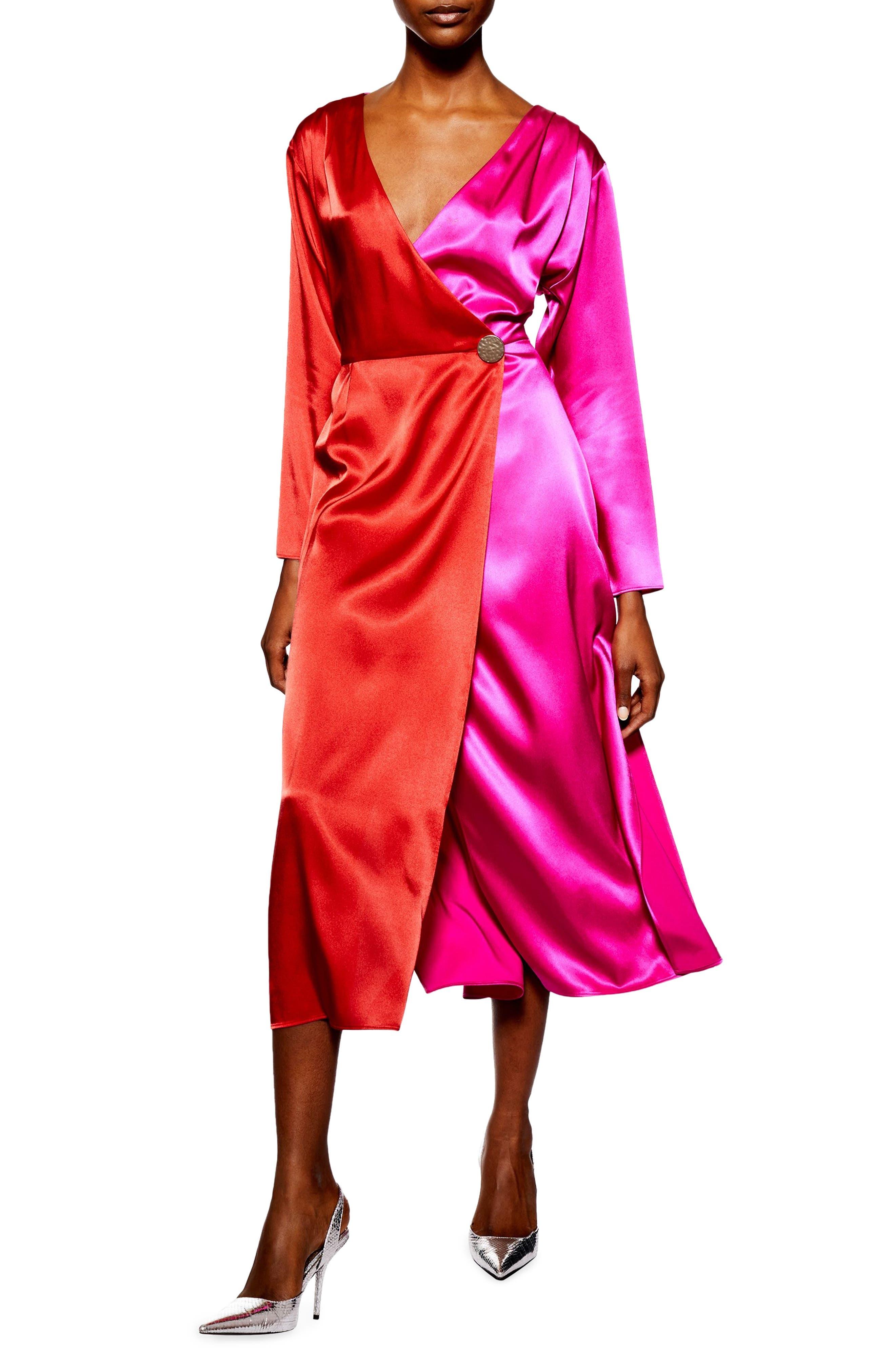 TOPSHOP Colorblock Dress, Main, color, PINK MULTI