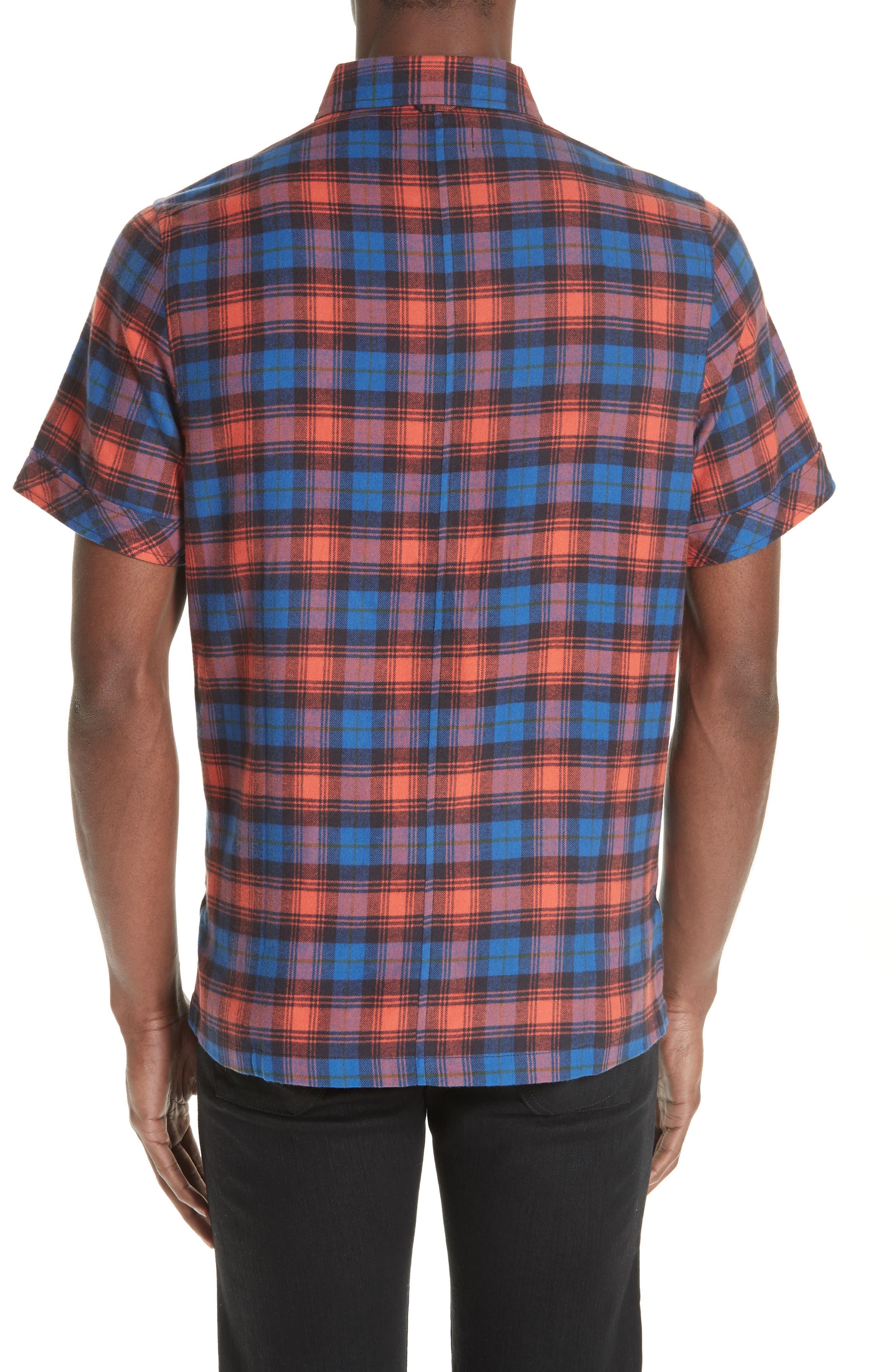 Plaid Flannel Camp Shirt,                             Alternate thumbnail 2, color,                             BLUE PLAID