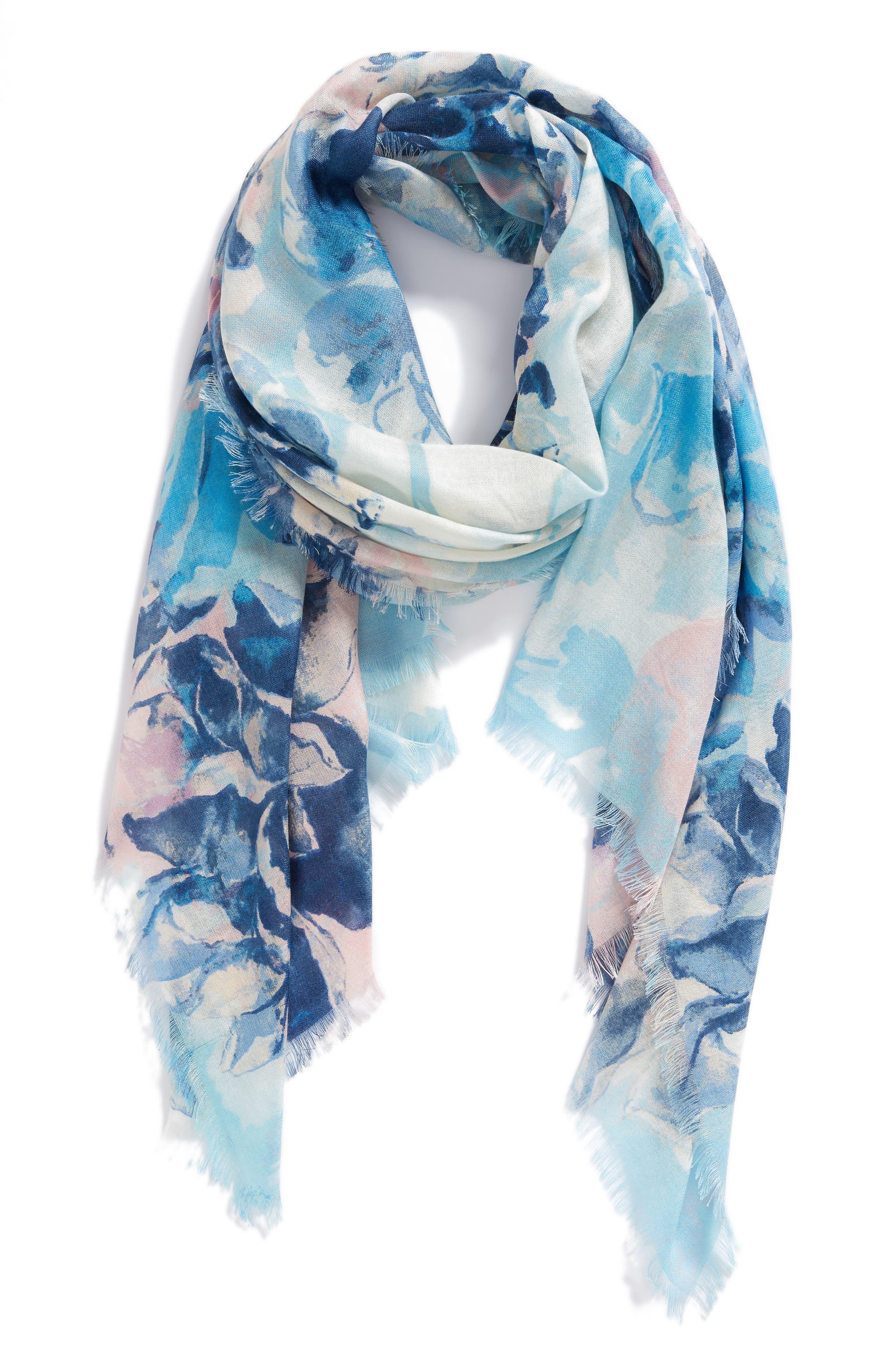 Eyelash Trim Print Cashmere & Silk Wrap,                             Alternate thumbnail 45, color,