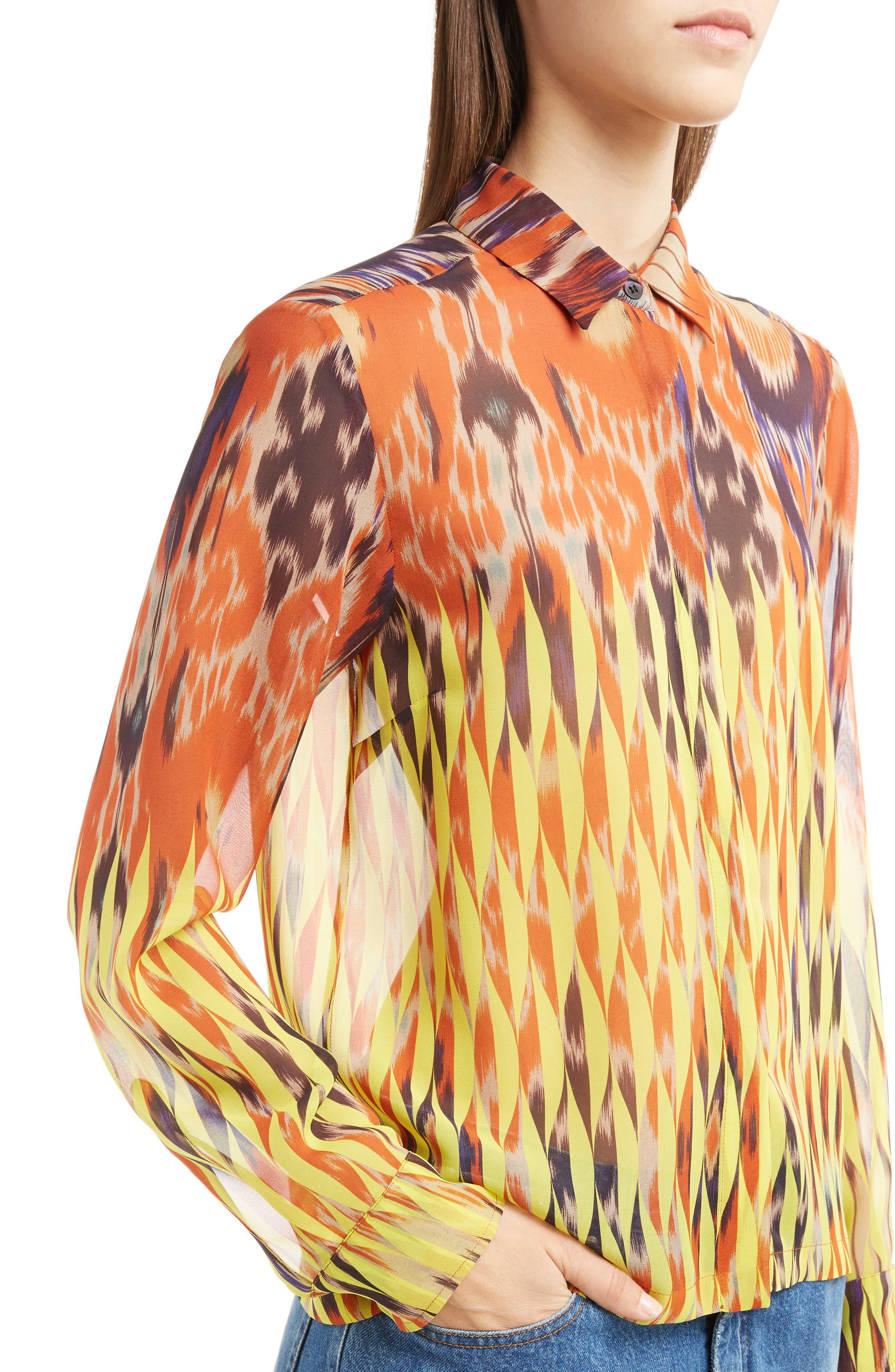 Sheer Ikat Silk Blouse,                             Alternate thumbnail 4, color,                             700