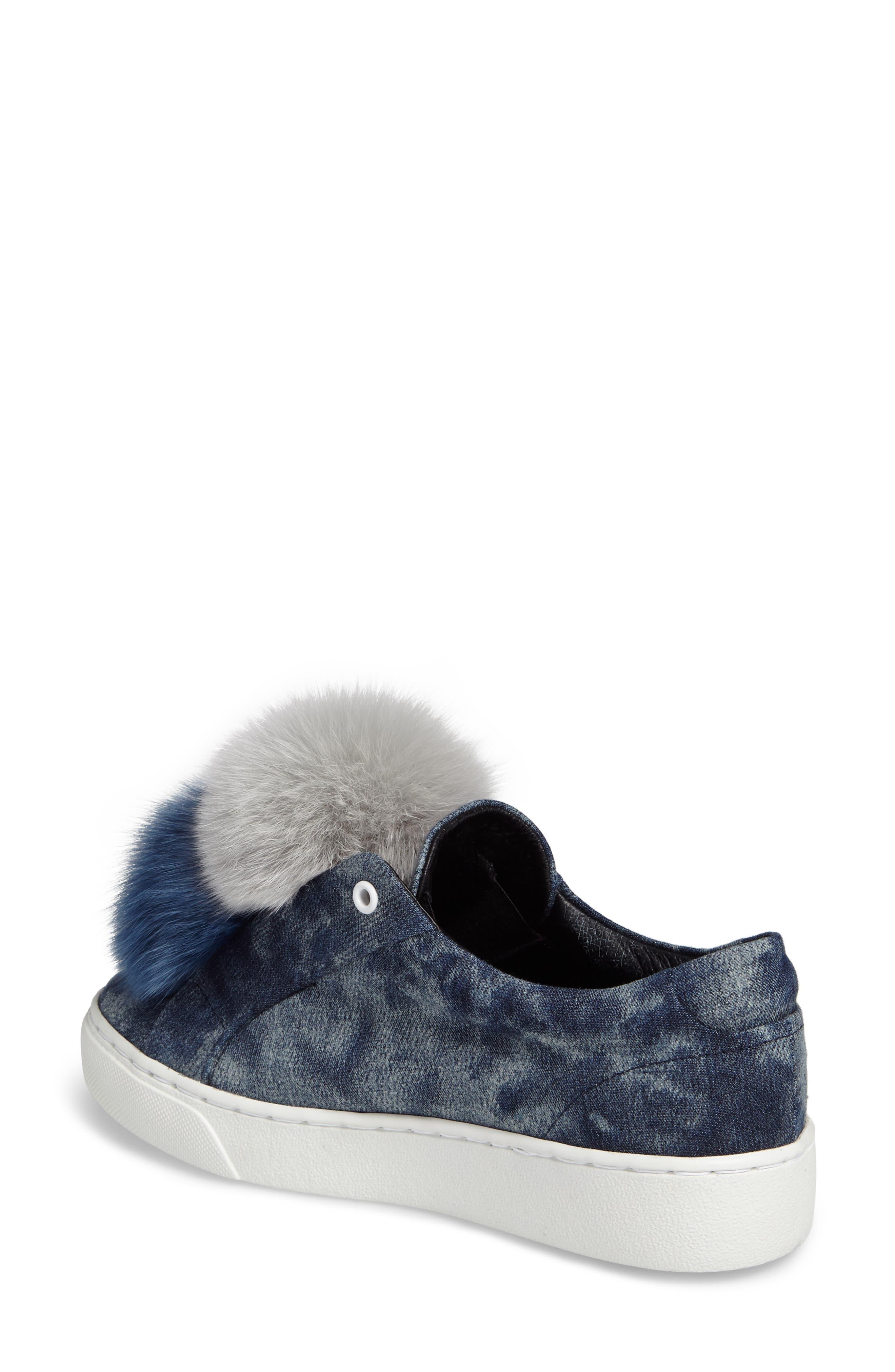 Joey Genuine Fox Fur Trim Sneaker,                             Alternate thumbnail 2, color,                             460