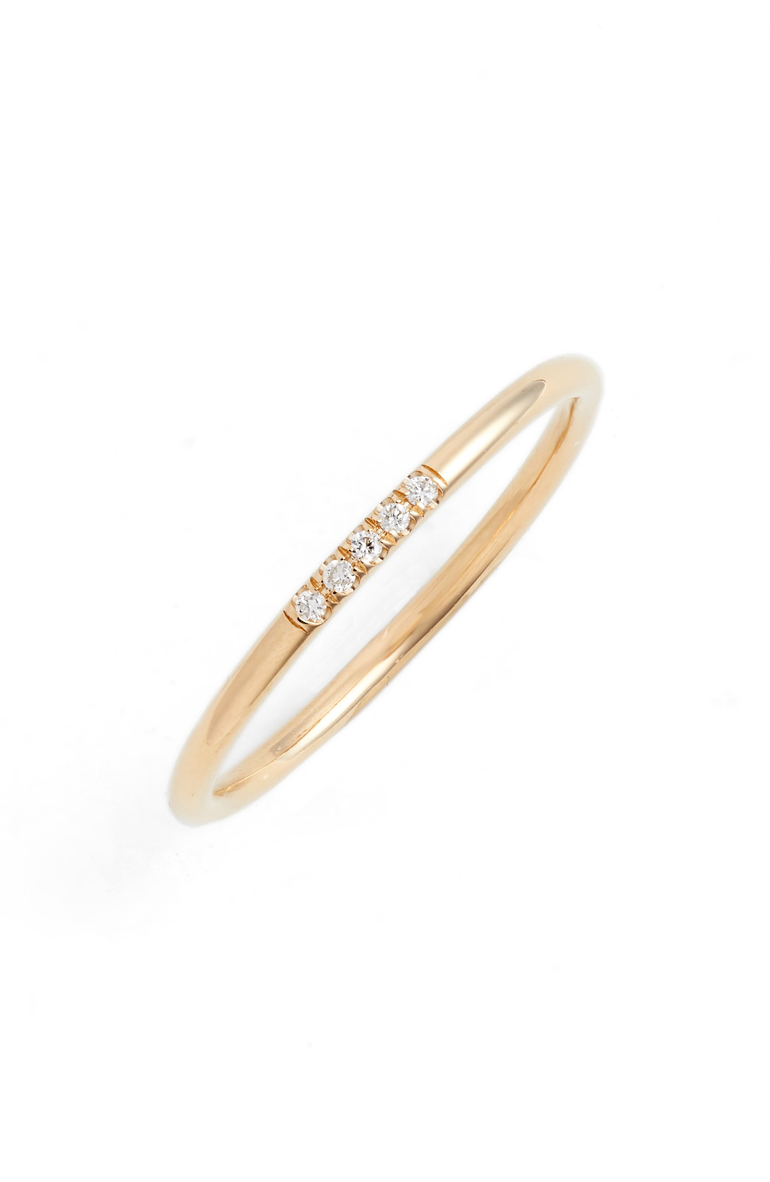 French Pavé Diamond Stacking Ring,                             Main thumbnail 1, color,                             YELLOW GOLD