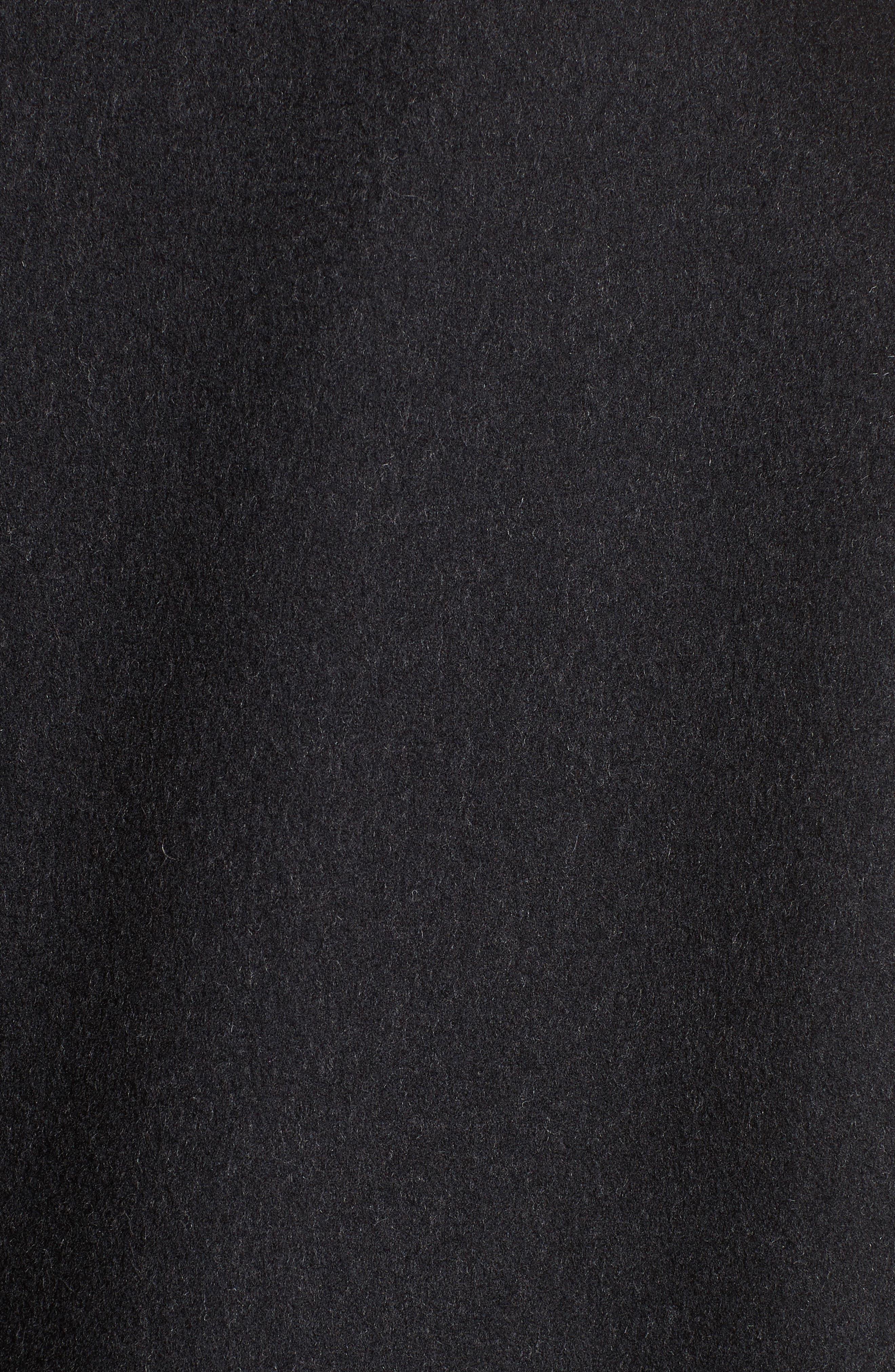 Genuine Fox Fur Trim Wool Blend Coat,                             Alternate thumbnail 6, color,                             001