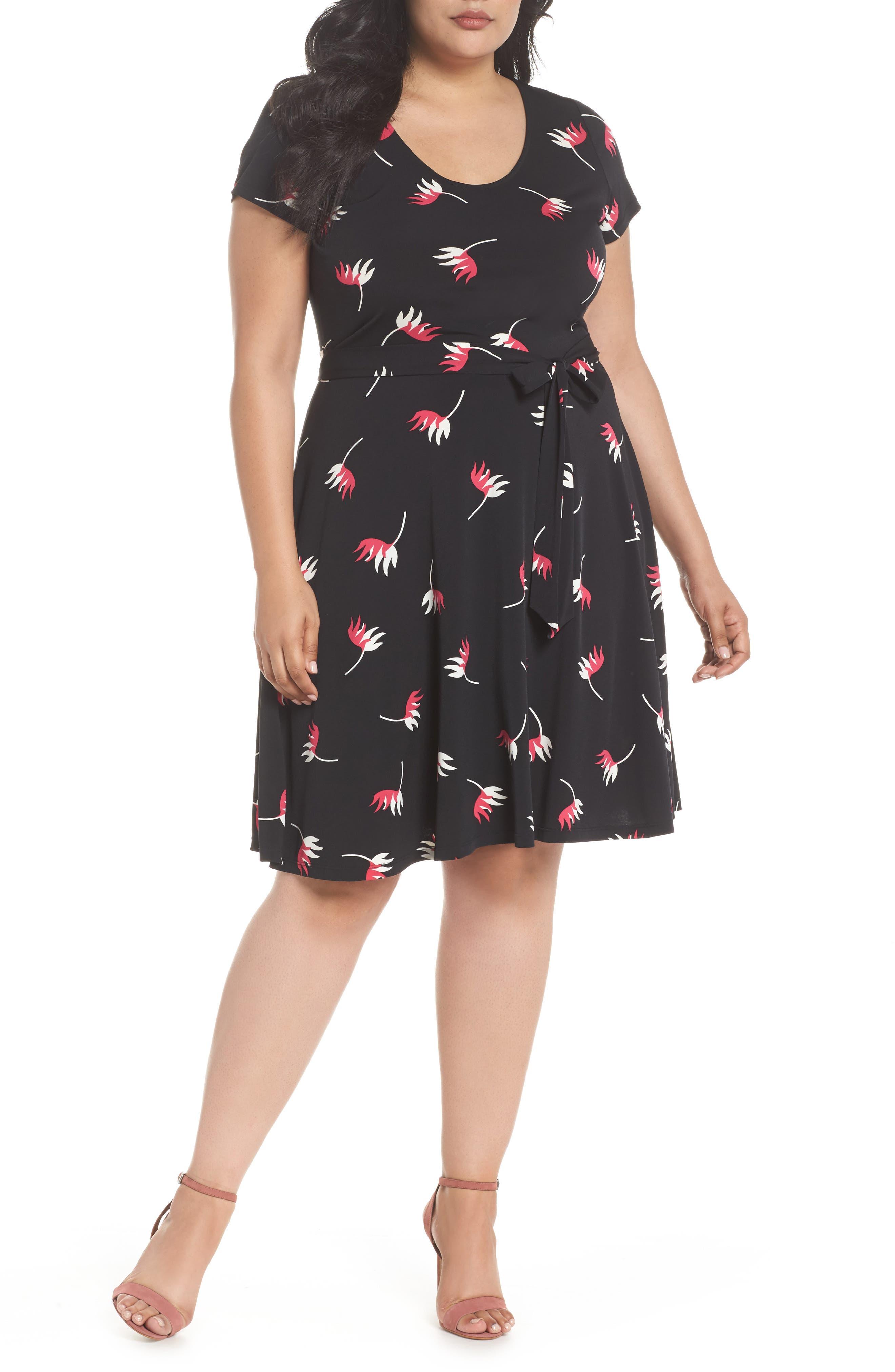 Llana Print Cap Sleeve A-Line Dress,                         Main,                         color, 008