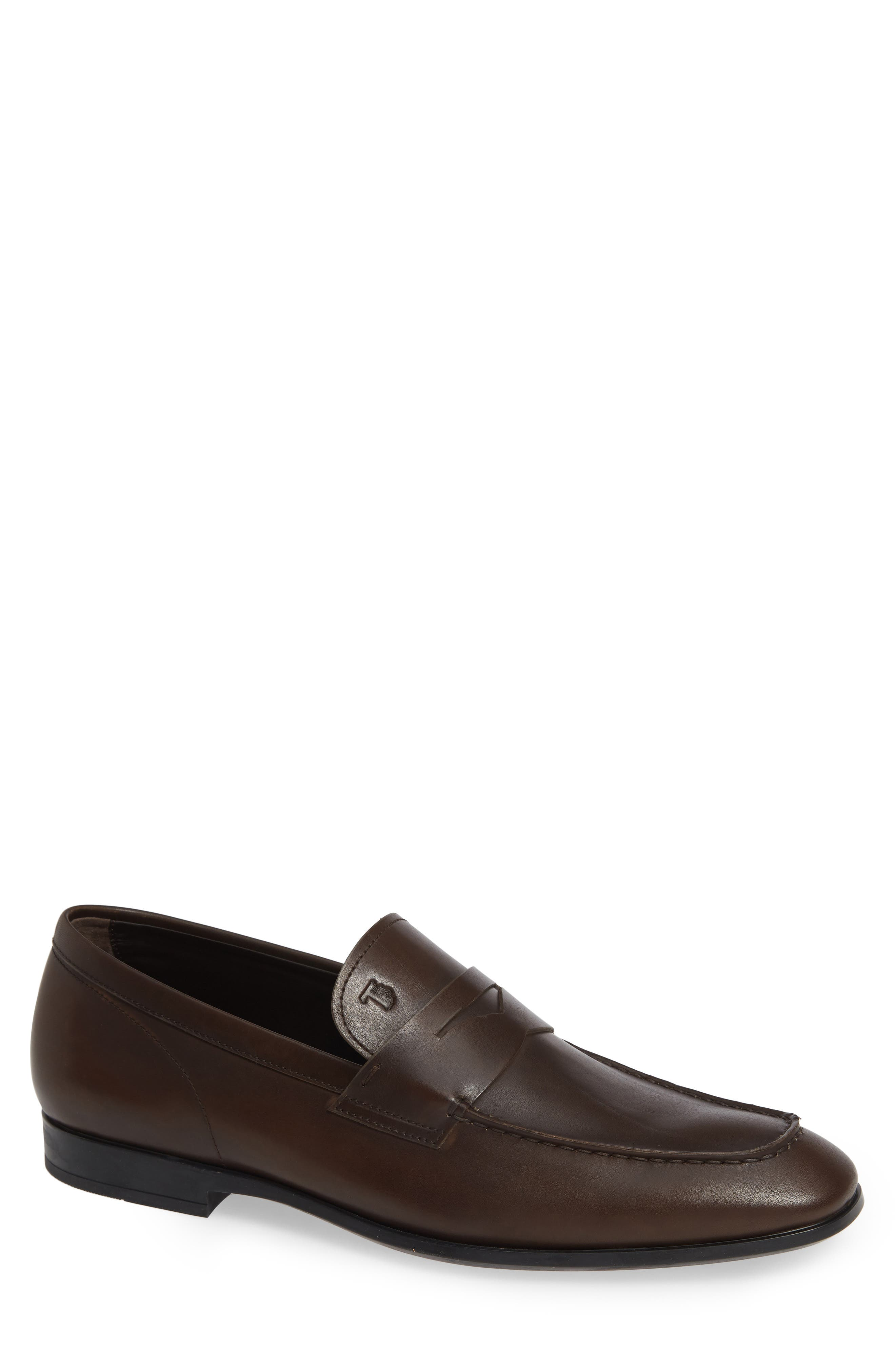 'Mocassino' Suede Penny Loafer in Dark Brown