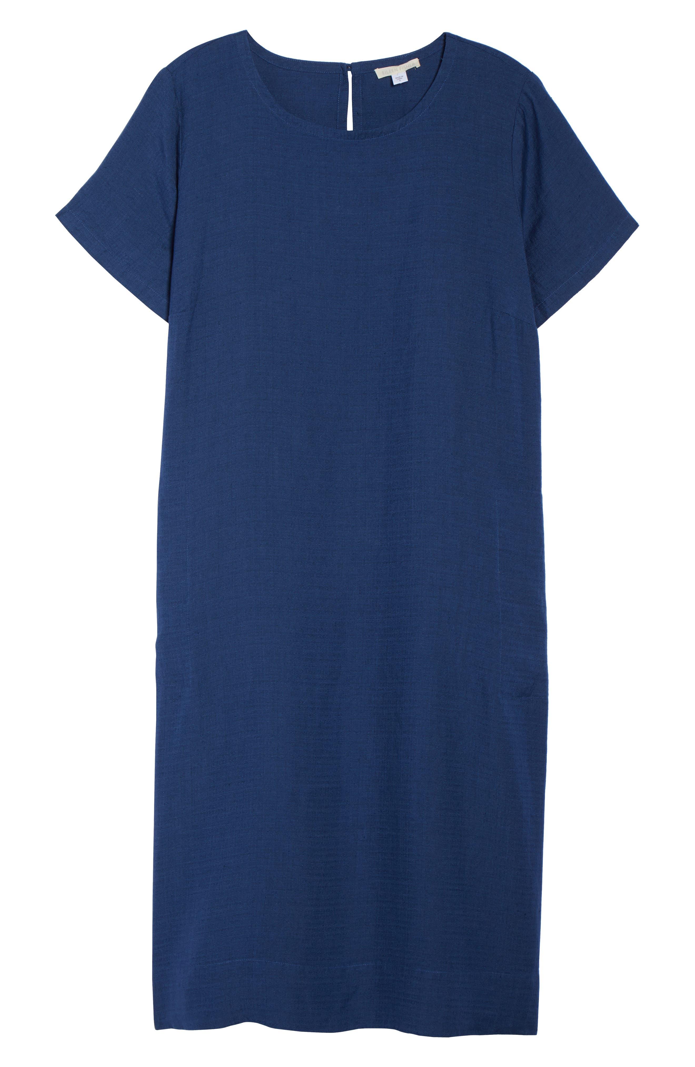 Linen Blend Shift Dress,                             Alternate thumbnail 18, color,