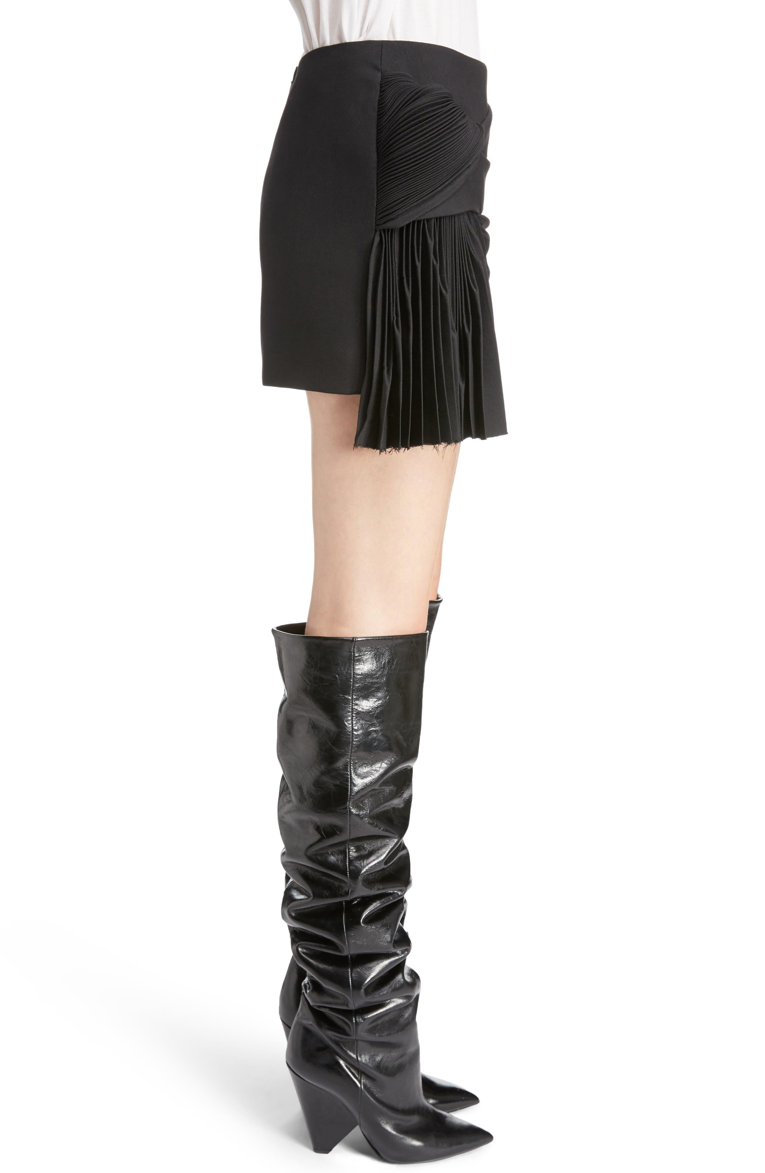 Pleated Wool Gabardine Miniskirt,                             Alternate thumbnail 3, color,                             001
