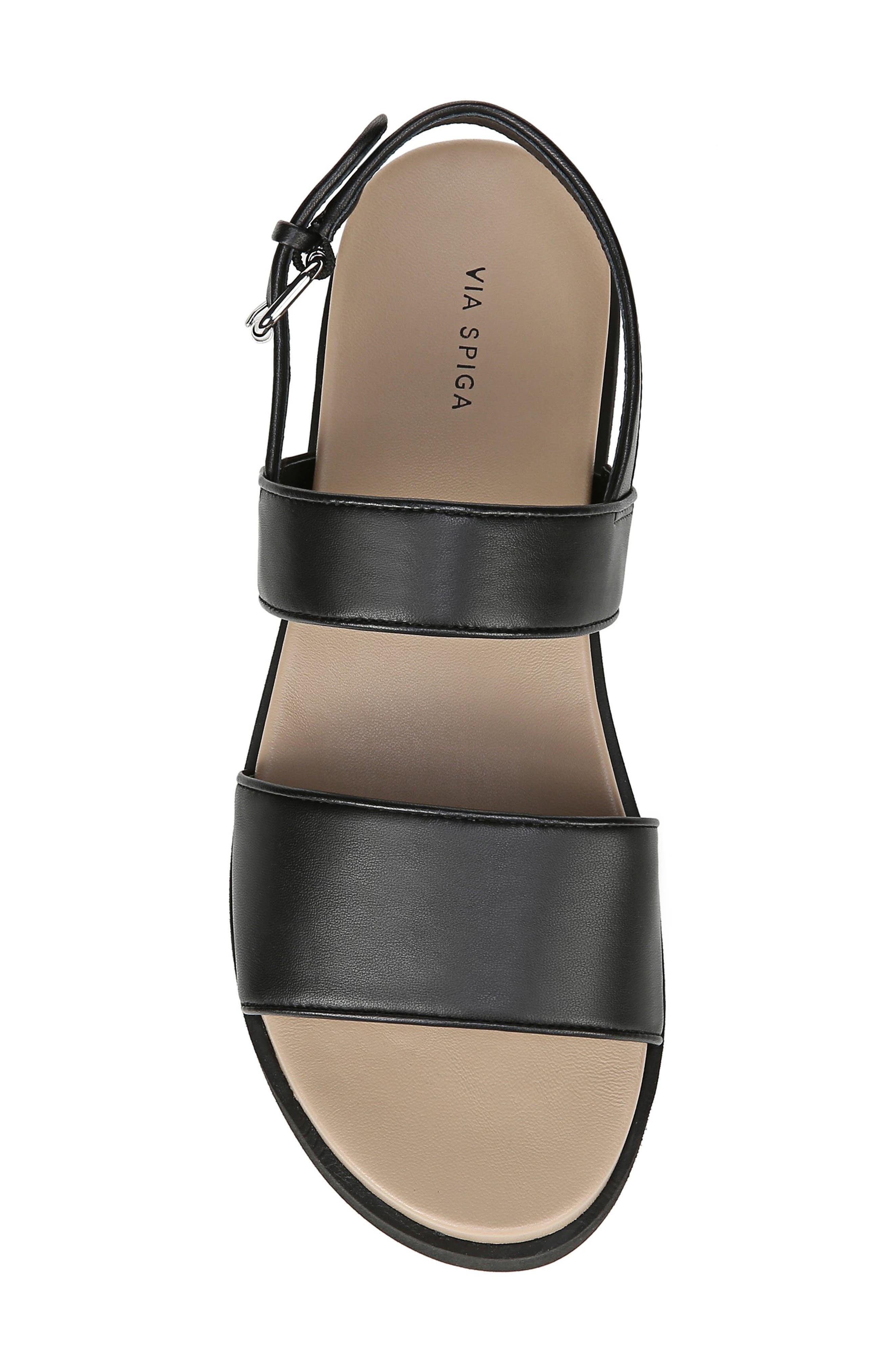 VIA SPIGA,                             Davi Platform Sandal,                             Alternate thumbnail 5, color,                             BLACK