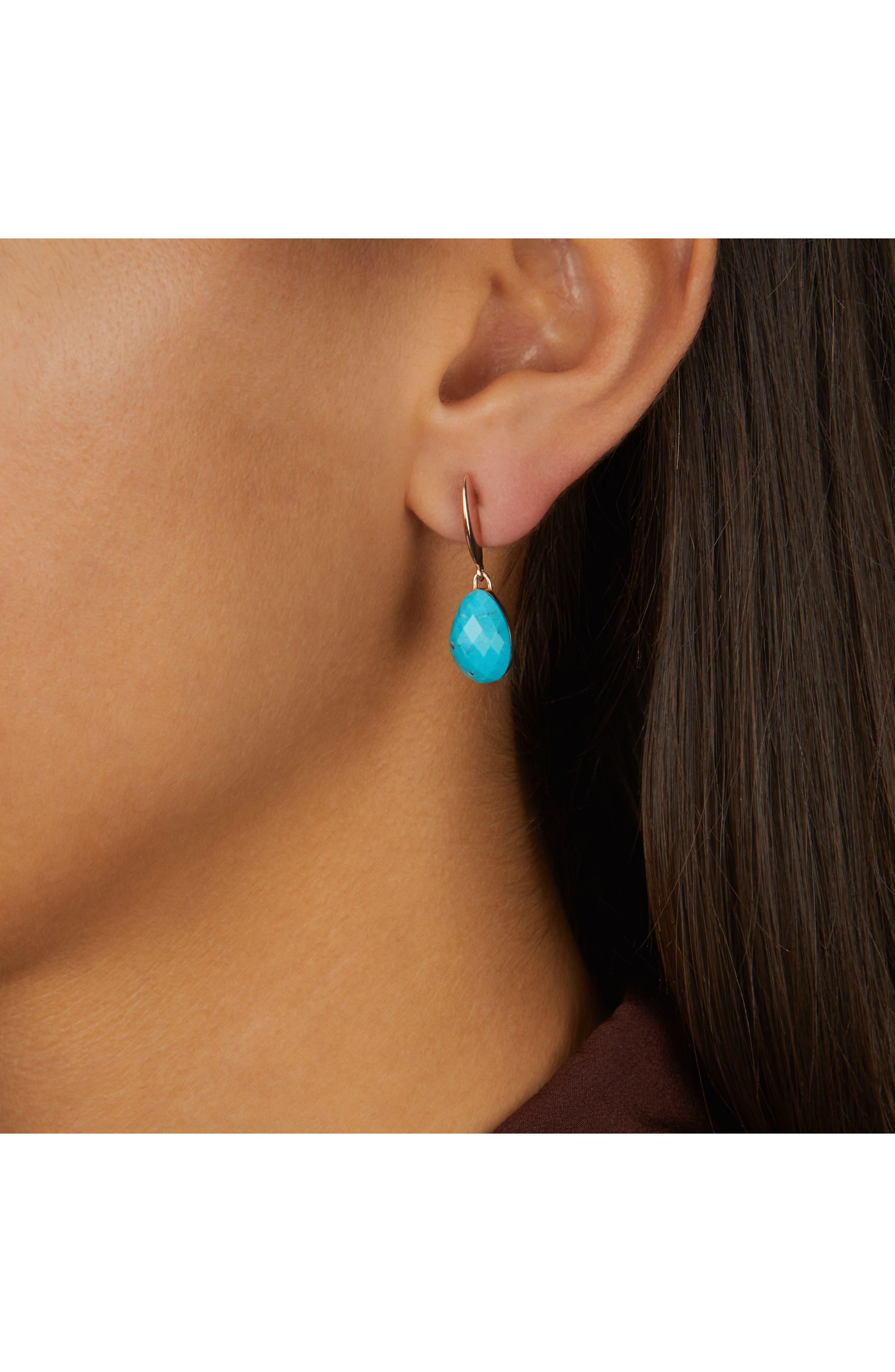 Nura Small Teardrop Earrings,                             Alternate thumbnail 2, color,                             TURQUOISE