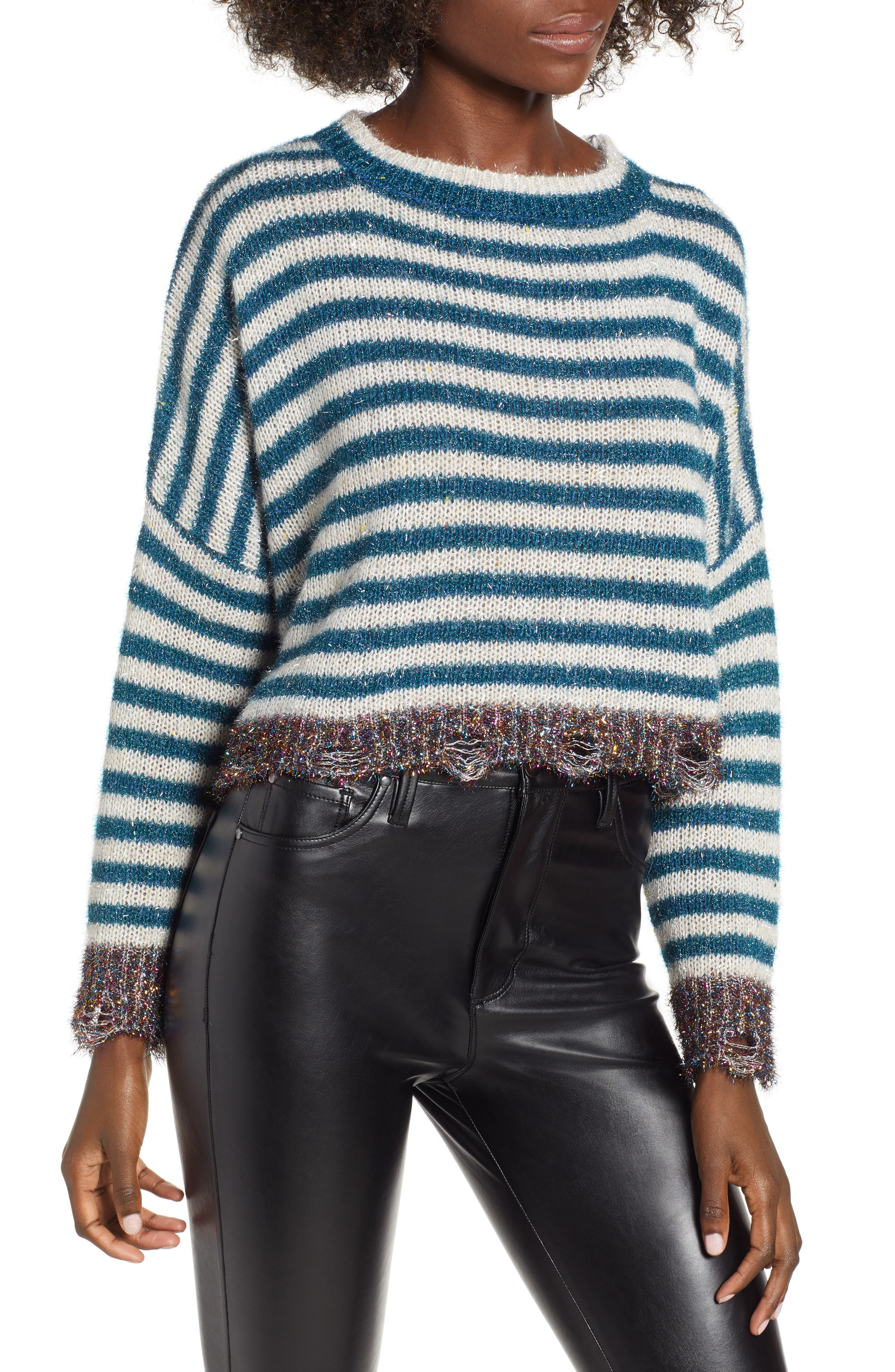 Tinsel Striped Sweater,                             Main thumbnail 1, color,                             400