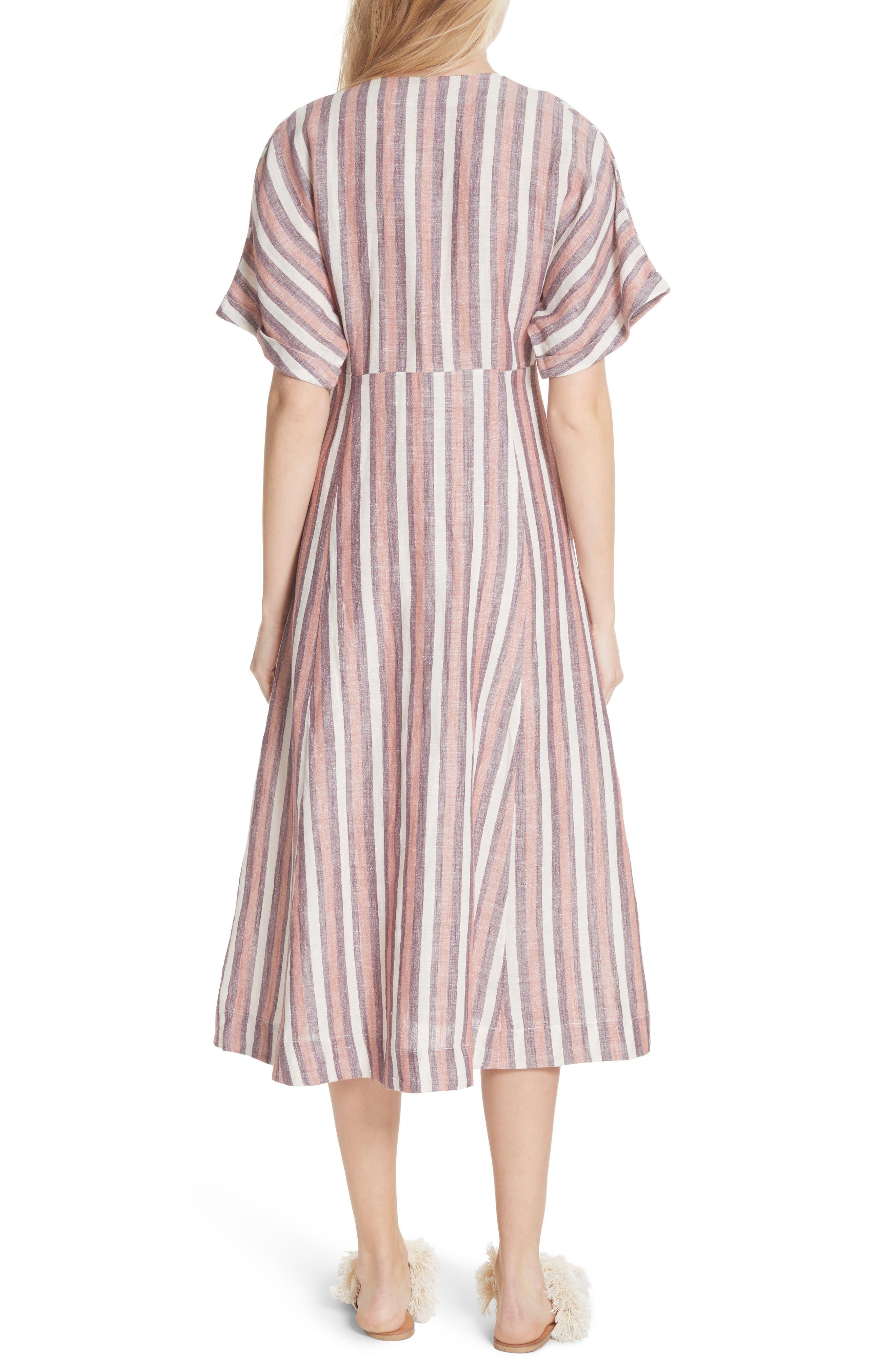 Monday Stripe Linen Blend Midi Dress,                             Alternate thumbnail 4, color,