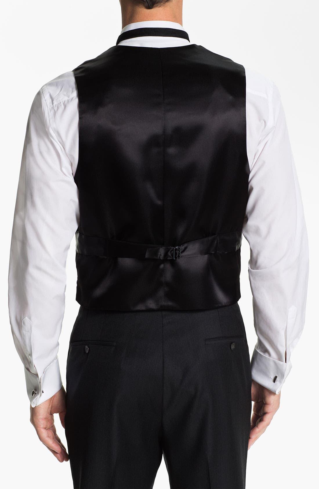 Silk Vest,                             Alternate thumbnail 2, color,                             BLACK SATIN