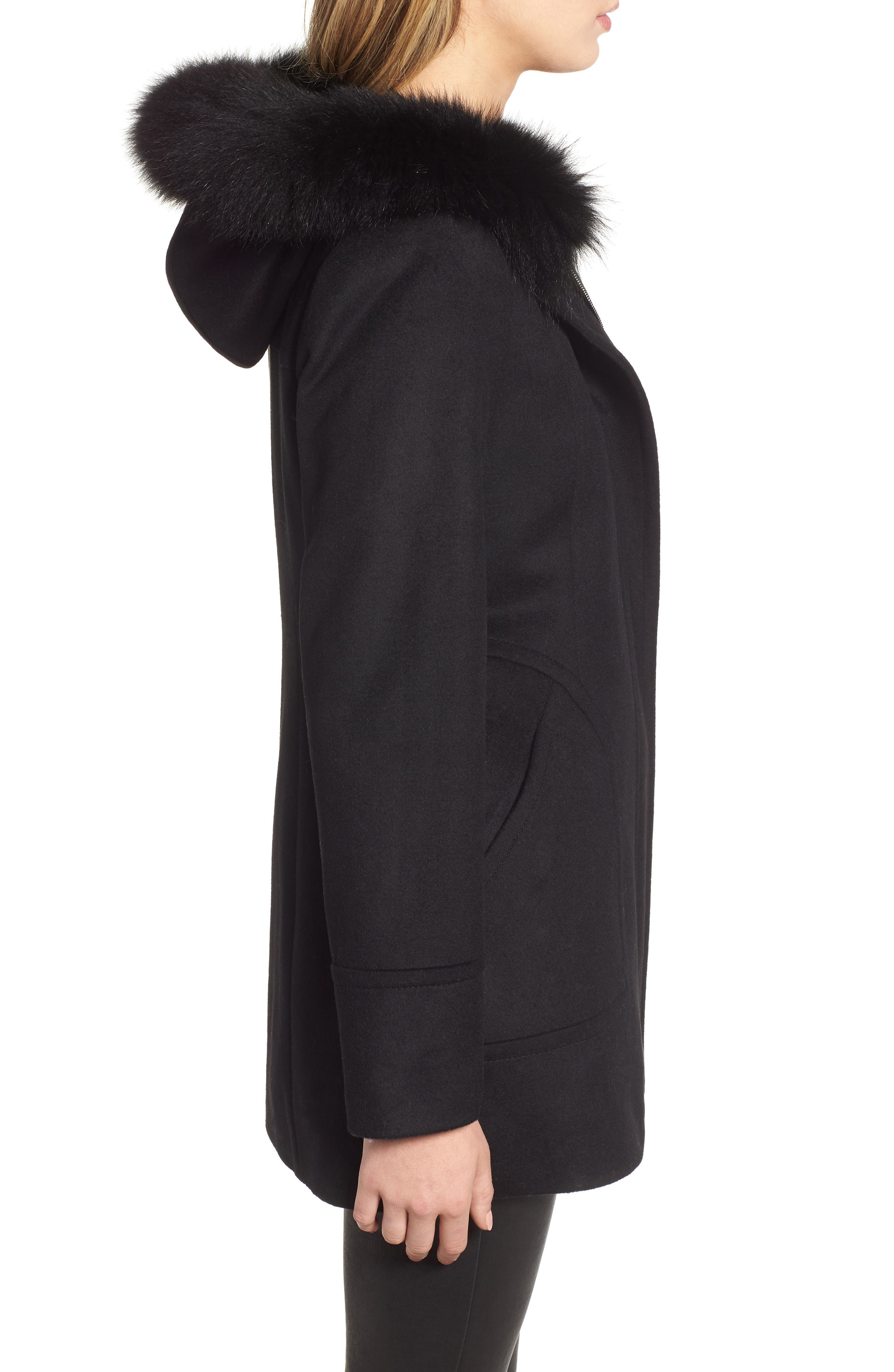 Genuine Fox Fur Trim Hooded Wool Coat,                             Alternate thumbnail 3, color,                             001