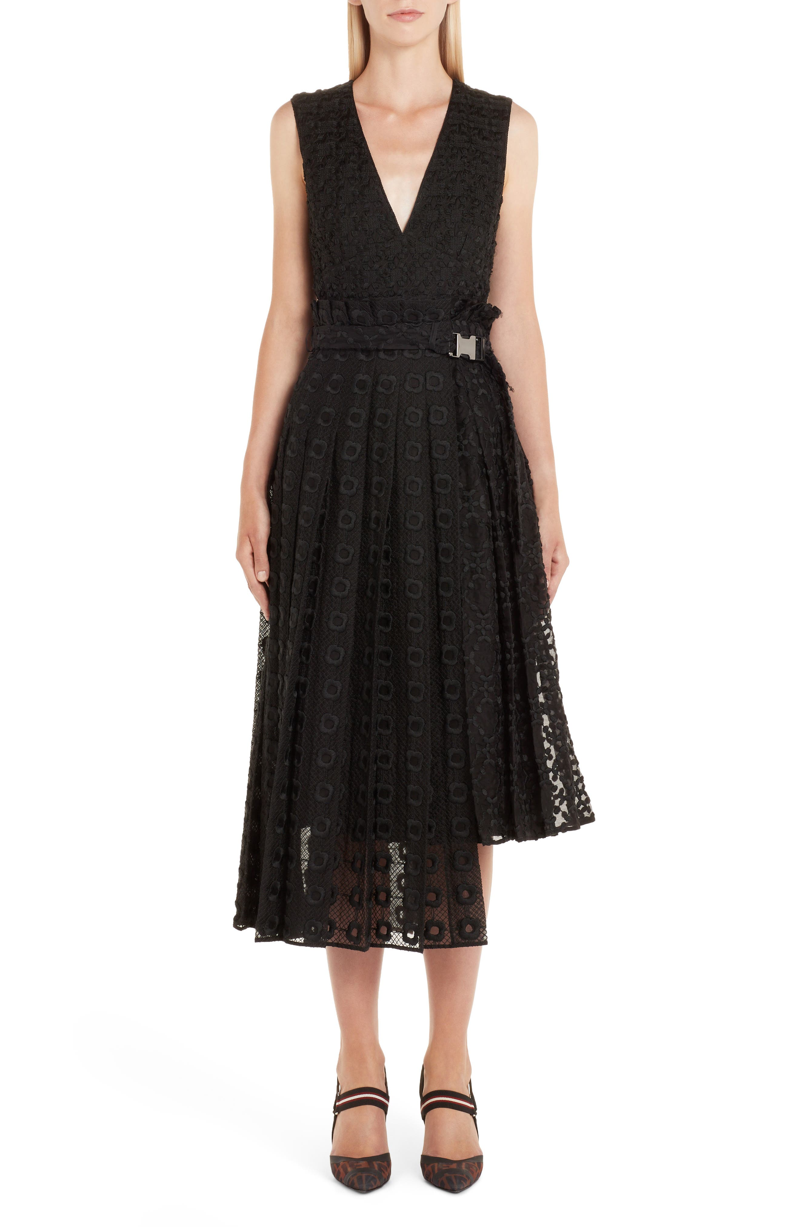 Fendi Asymmetrical Embroidered Organza Lace Dress, US / 44 IT - Black