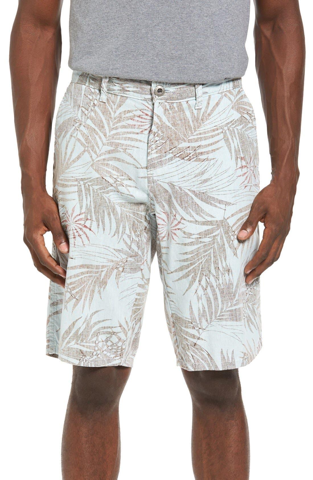 Havana Print Linen Shorts,                             Main thumbnail 2, color,