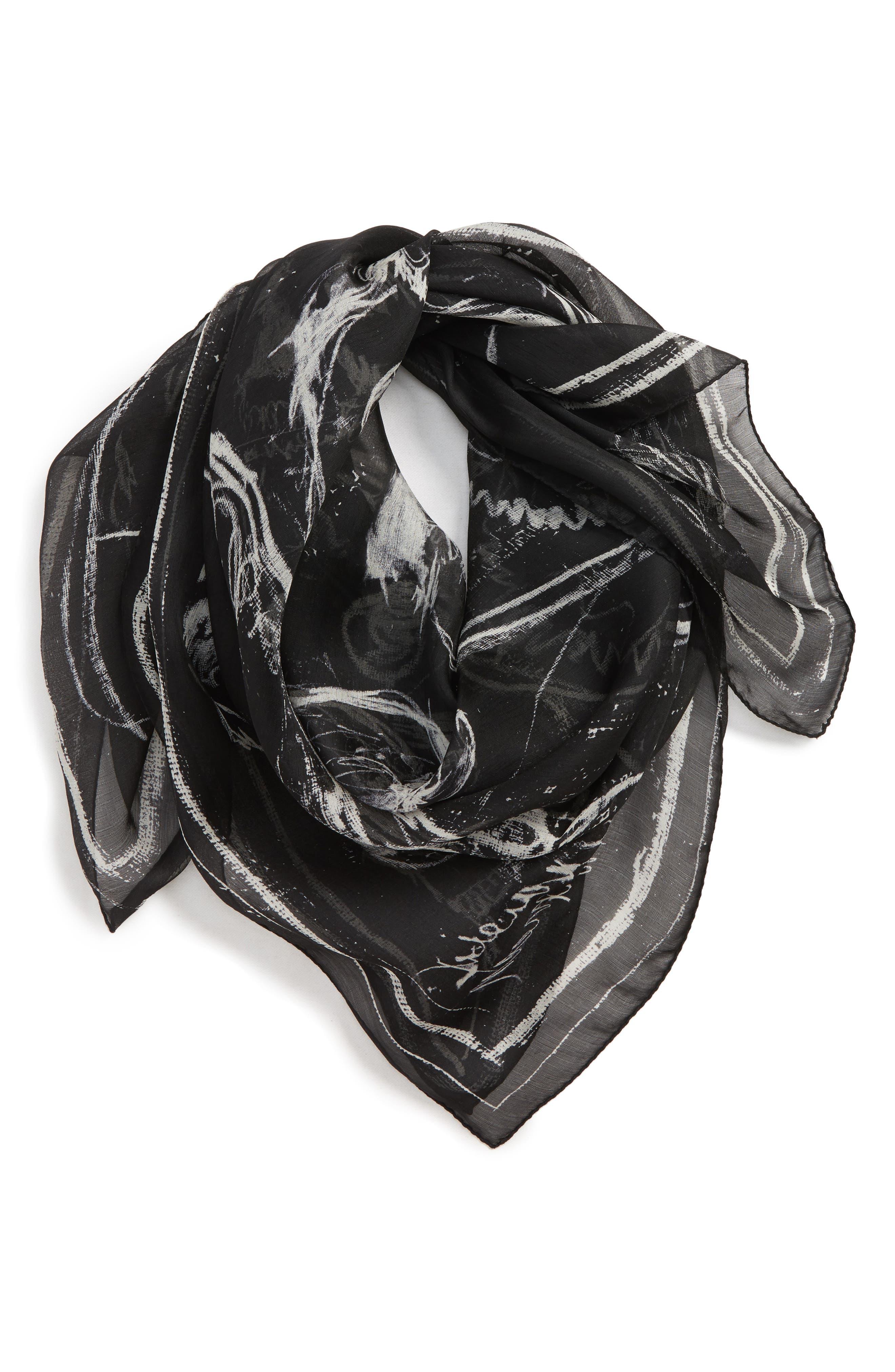 Graffiti Skull Silk Scarf, Main, color, BLACK/ IVORY