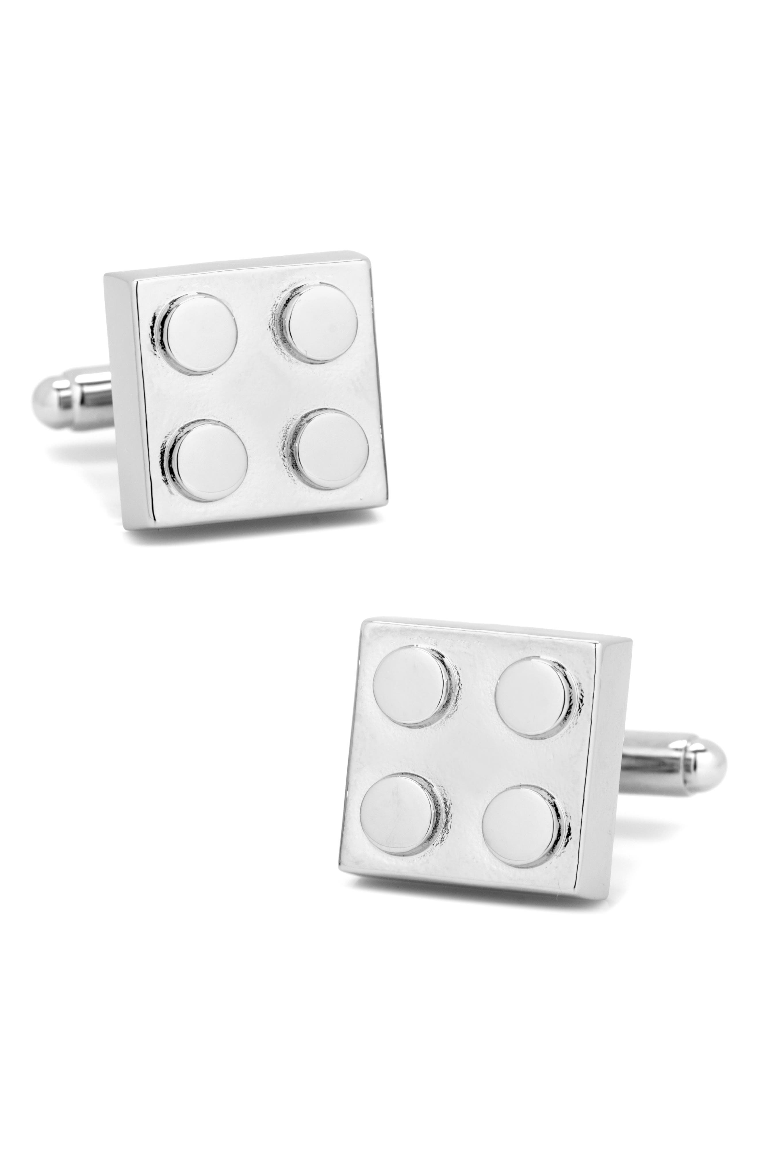 Building Block Cuff Links,                             Main thumbnail 1, color,                             METALLIC SILVER
