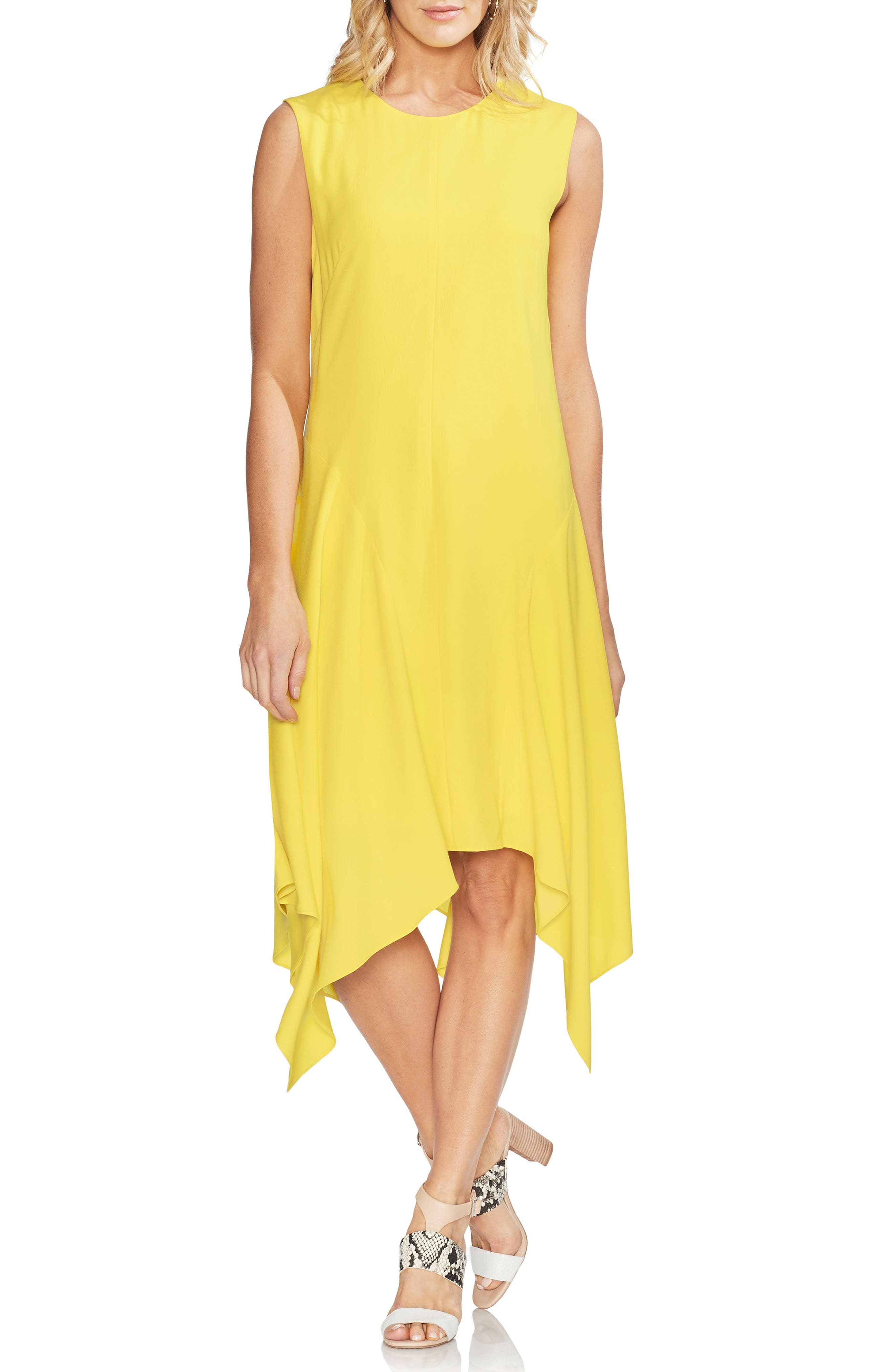 Vince Camuto Handkerchief Hem Dress, Yellow