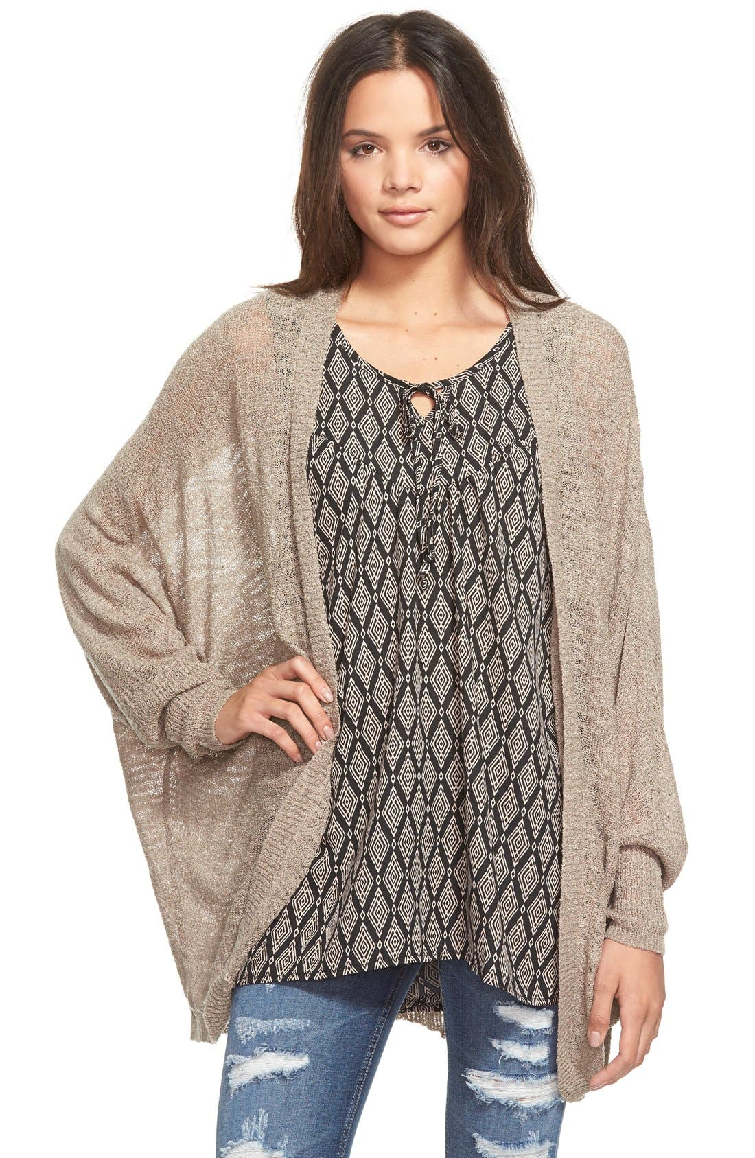 Lightweight Open Front Cardigan, Main, color, 030