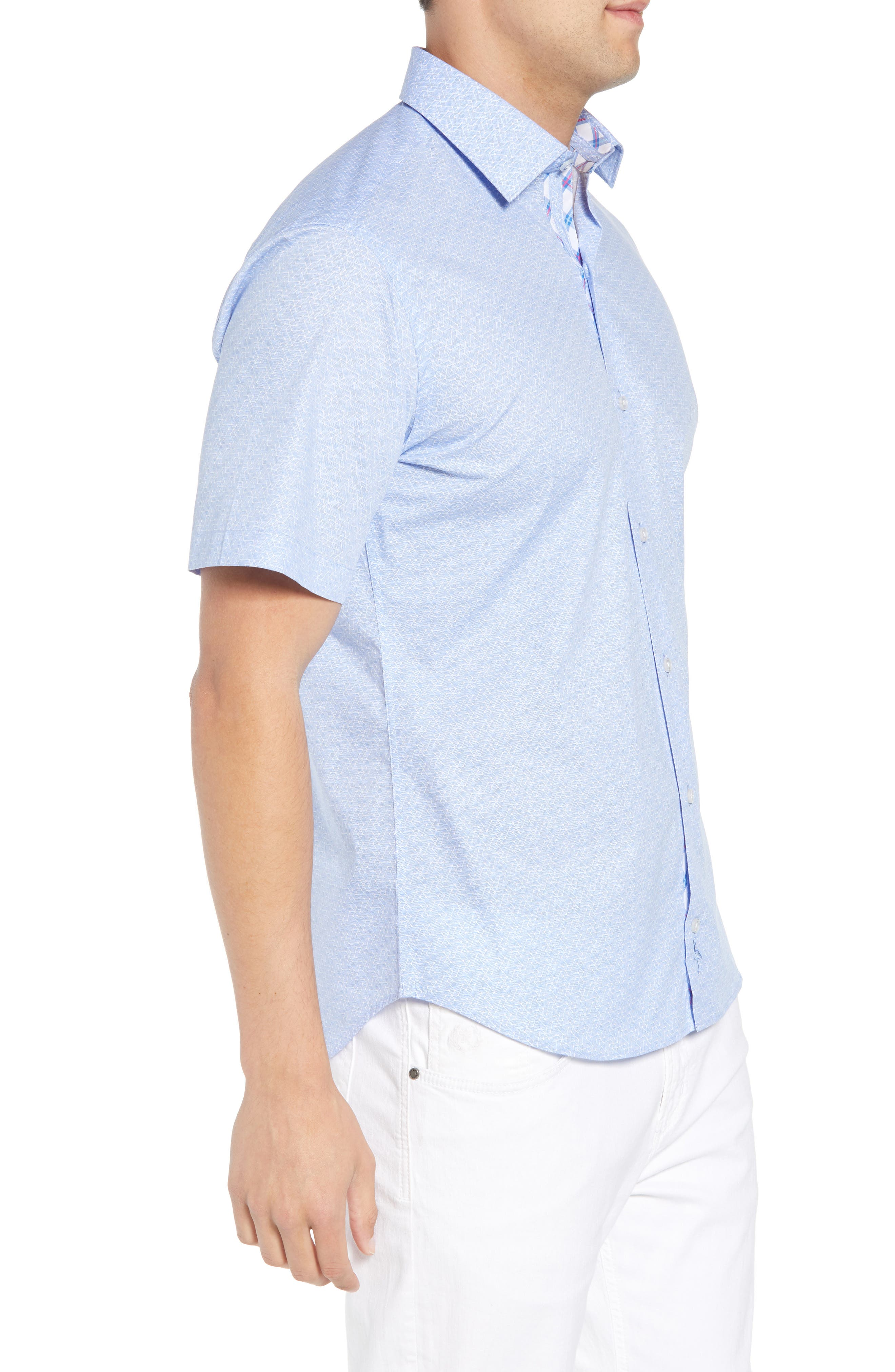 Acton Regular Fit Geo Print Sport Shirt,                             Alternate thumbnail 3, color,                             450