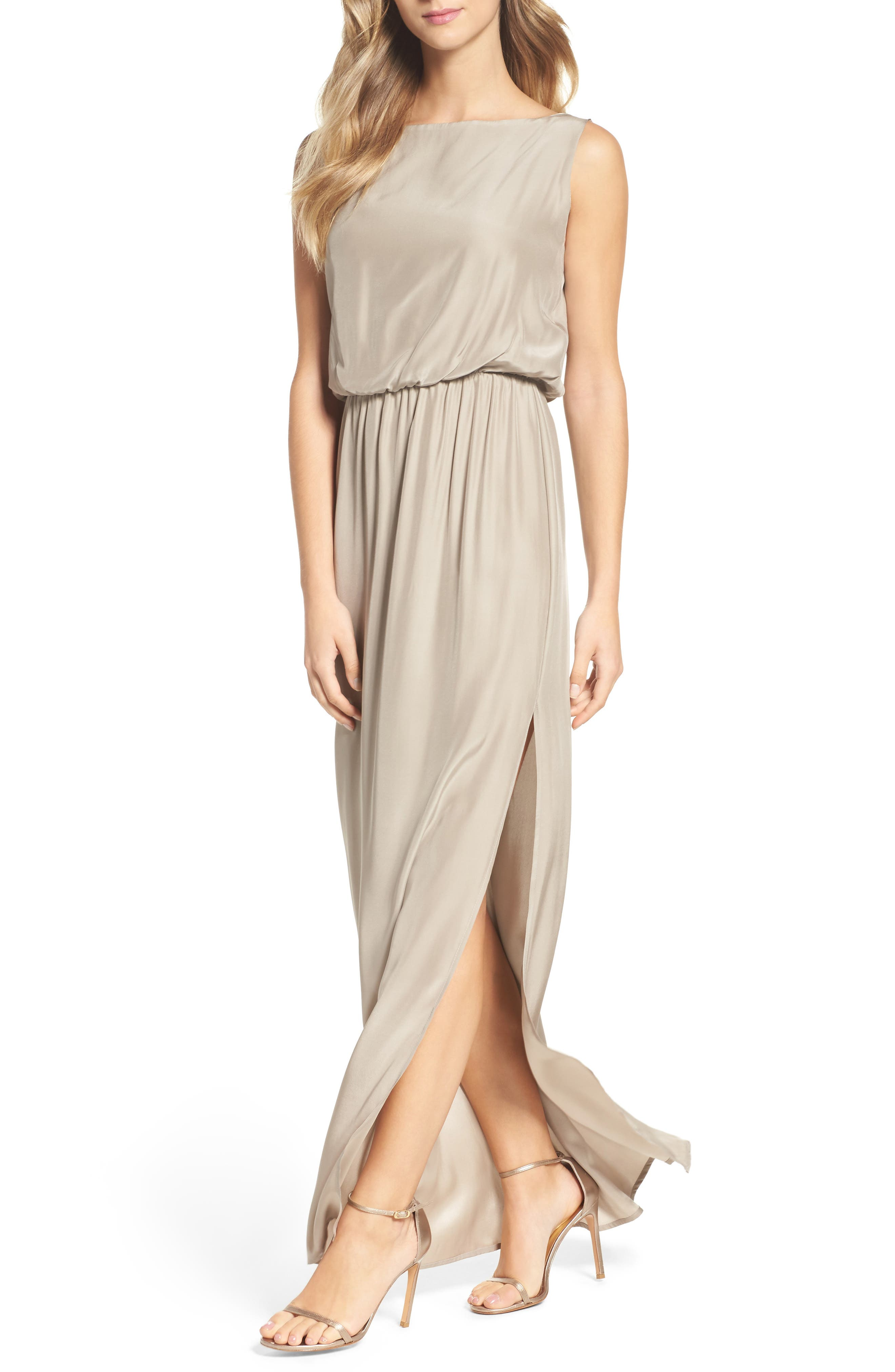 Drape Back Silk Column Gown,                             Alternate thumbnail 12, color,