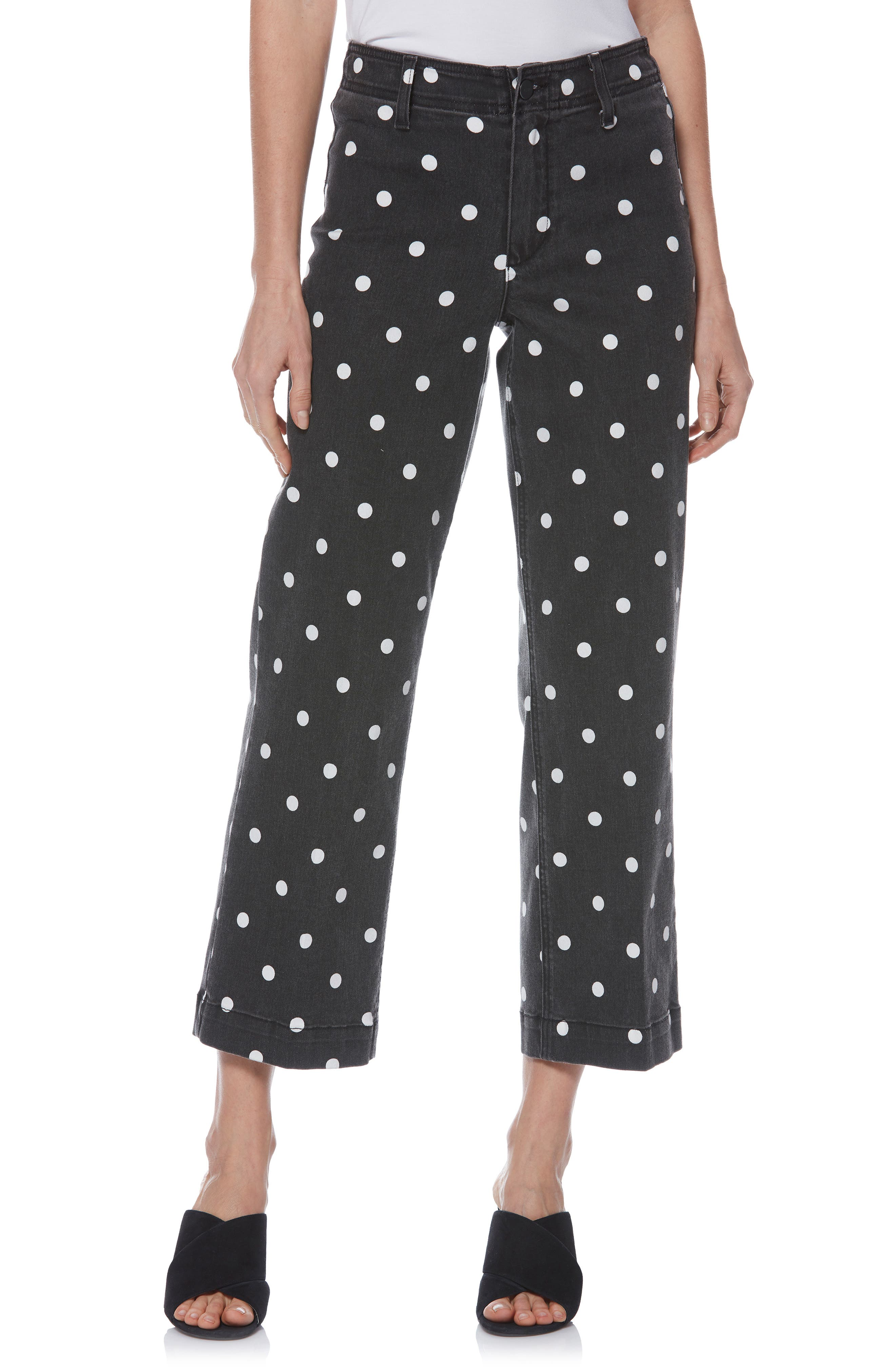 Nellie Polka Dot Clean Front Culotte Jeans in Black/ Cream Polka Dot