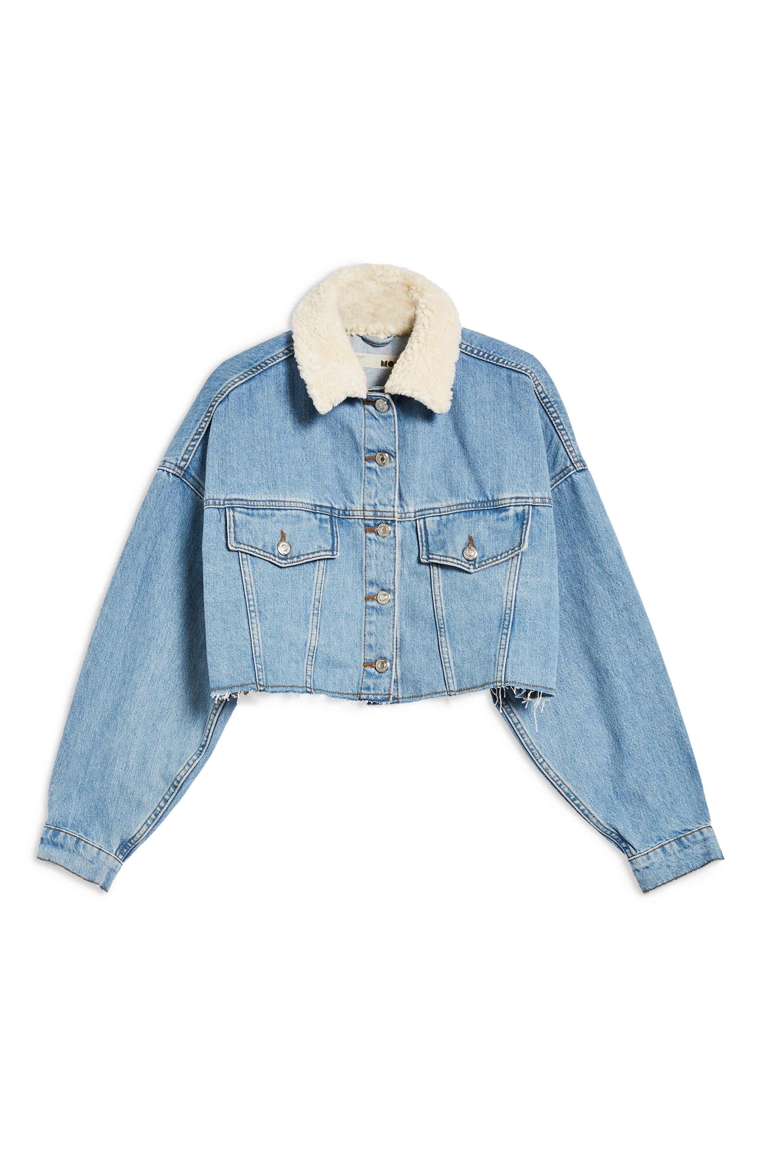 Borg Faux Fur Collar Hacked Denim Jacket,                             Alternate thumbnail 6, color,                             420