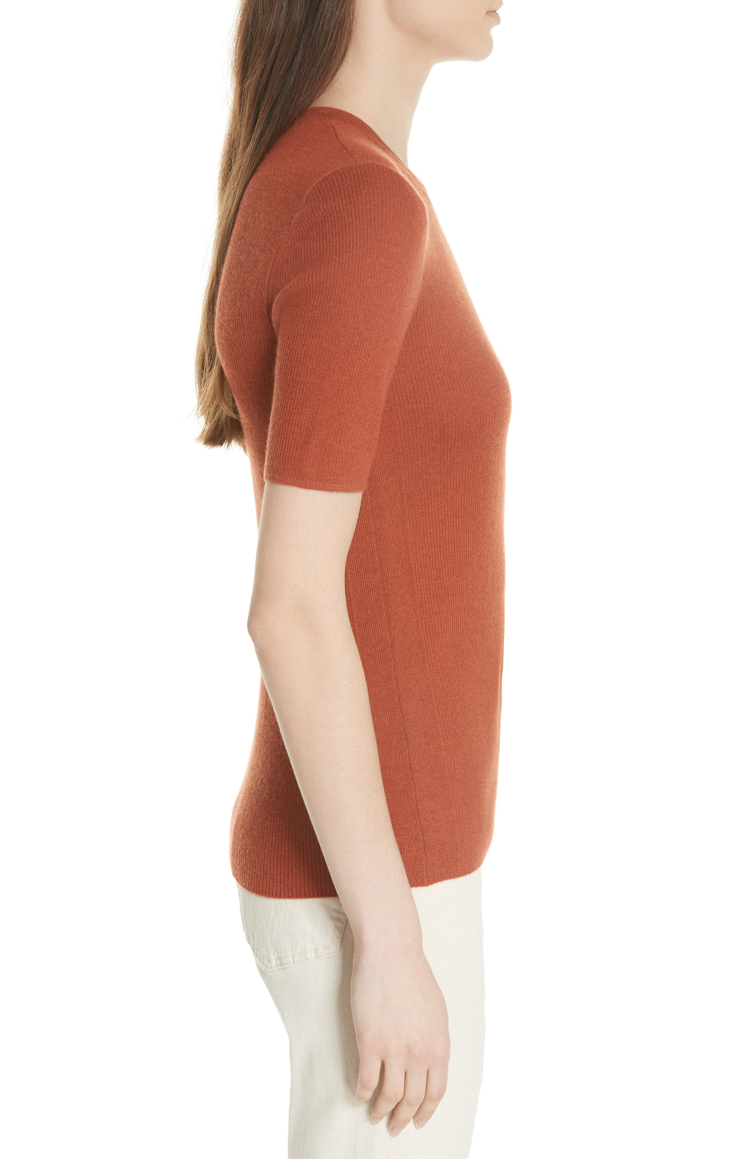 Taylor Ribbed Cashmere Sweater,                             Alternate thumbnail 3, color,                             DESERT SPICE
