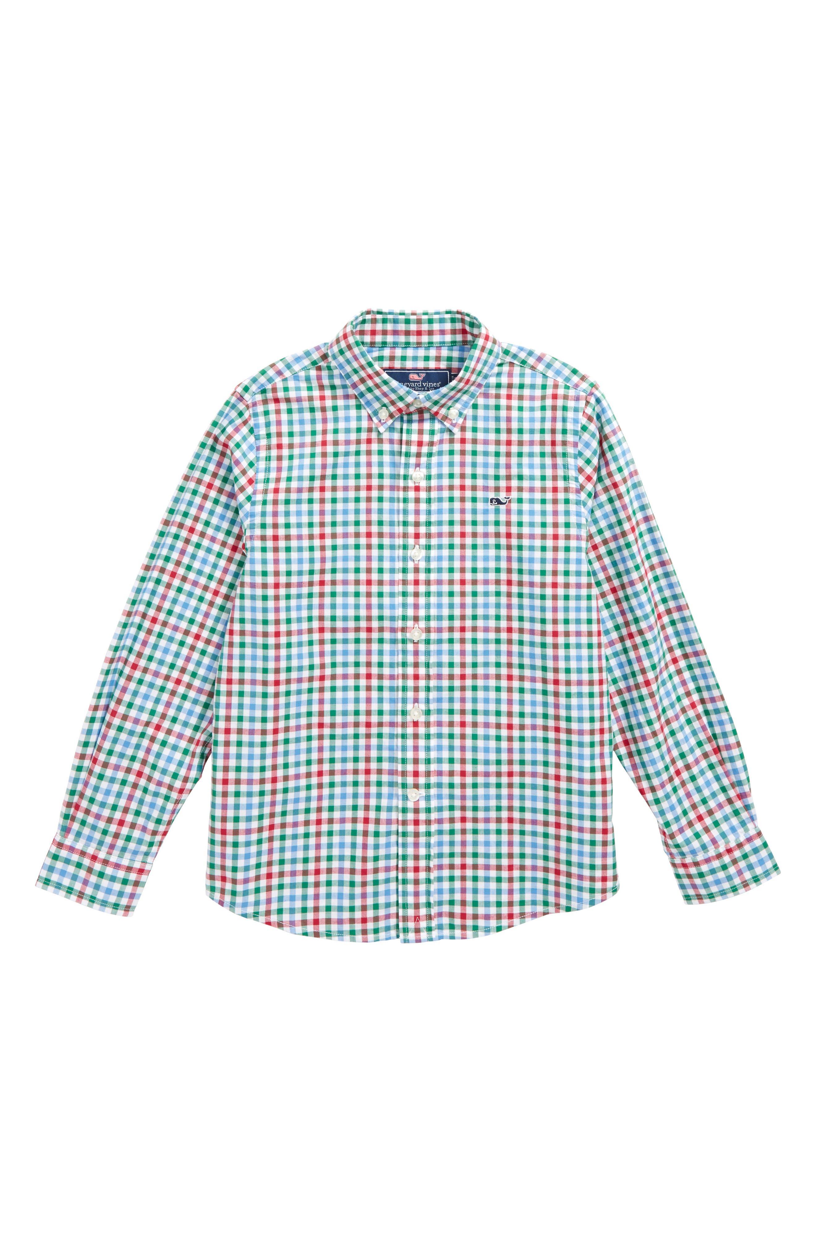 Higgins Beach Gingham Whale Shirt,                         Main,                         color,