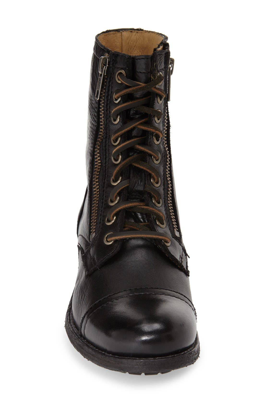 'Tyler' Double Zip Military Boot,                             Alternate thumbnail 3, color,                             001