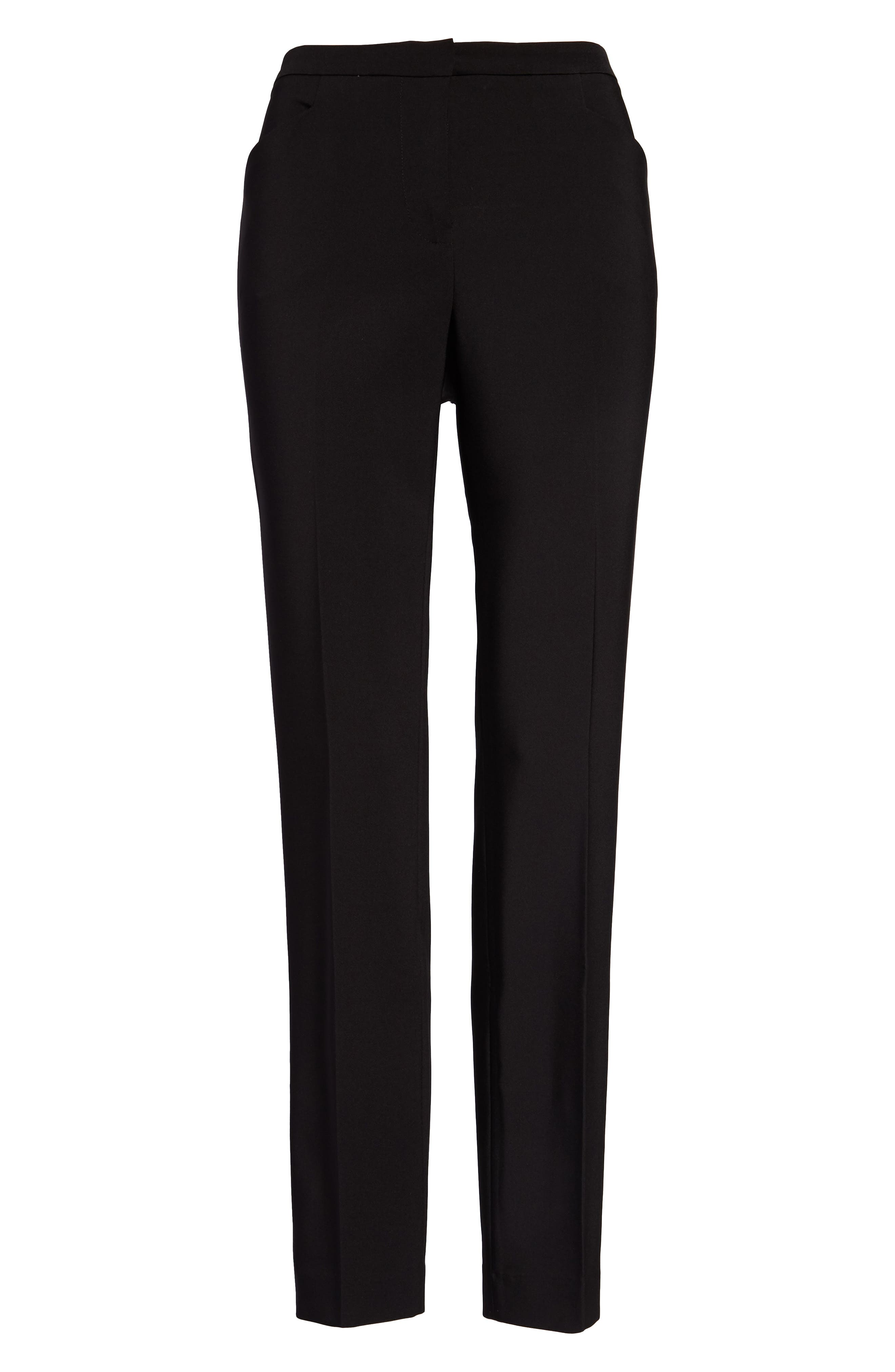Stretch Twill Ankle Pants,                             Alternate thumbnail 3, color,                             RICH BLACK