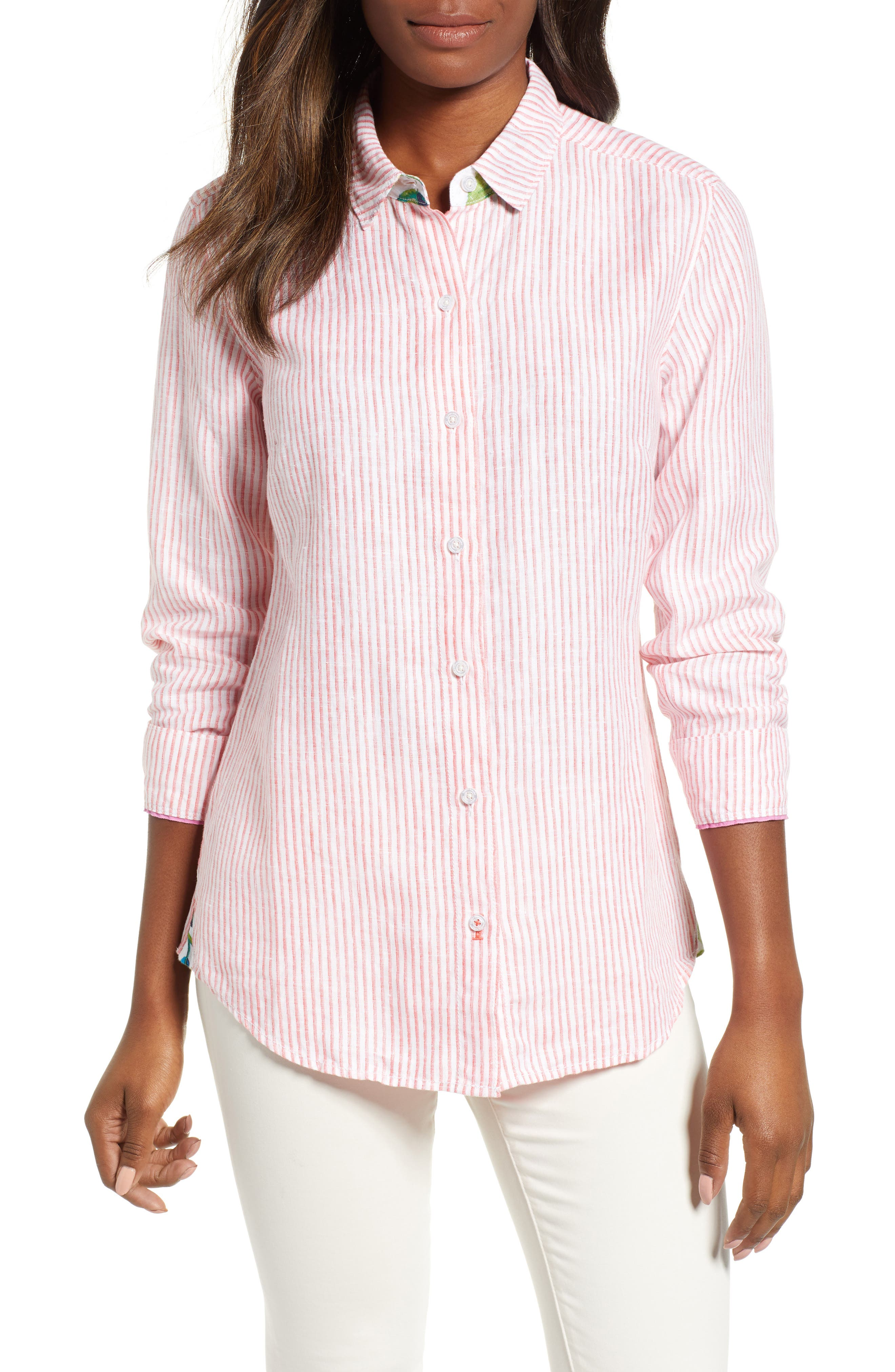 Crystalline Waters Long Sleeve Shirt, Main, color, DUBARRY CORAL