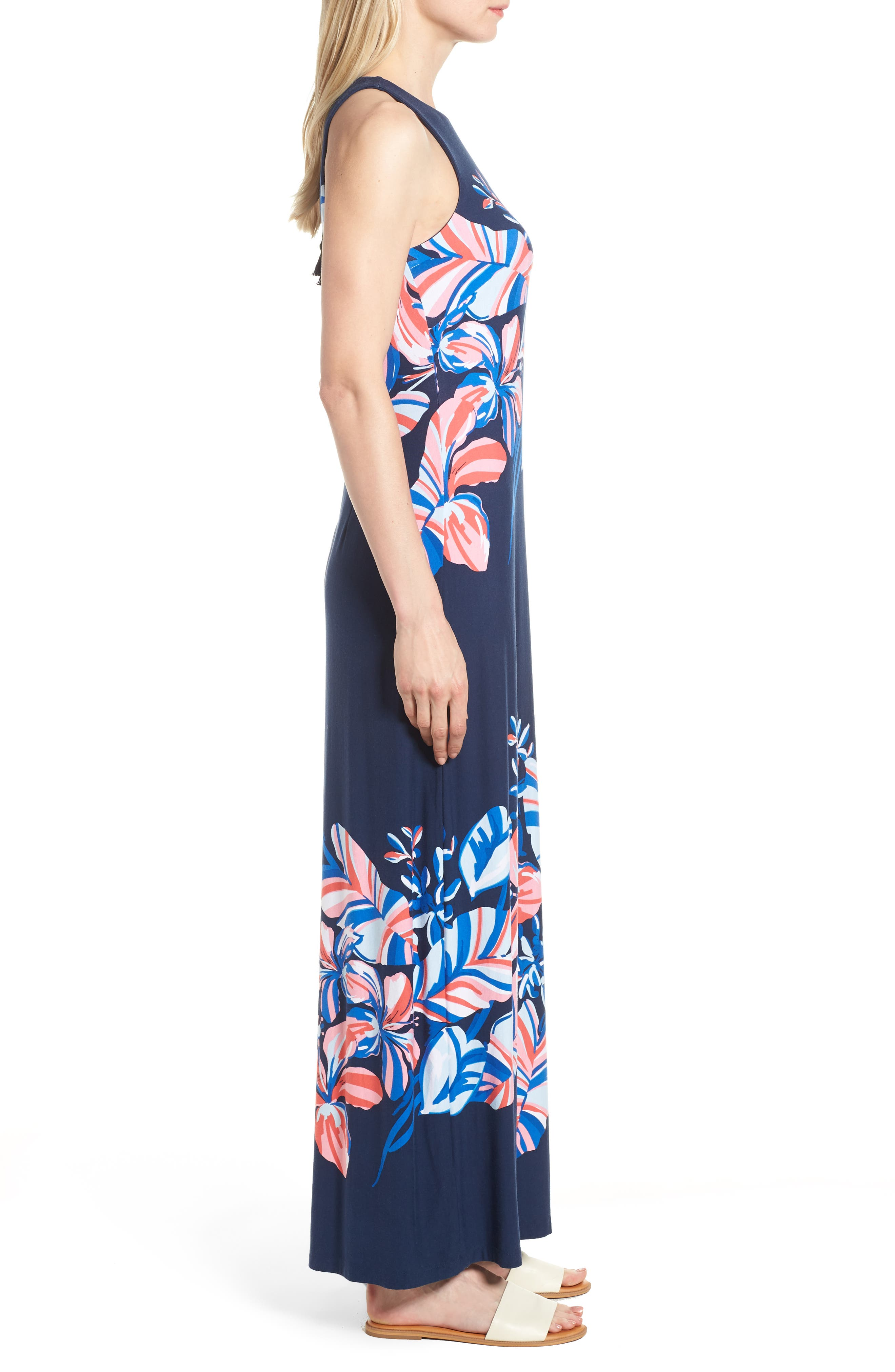Le Tigre Floral Maxi Dress,                             Alternate thumbnail 3, color,                             OCEAN DEEP