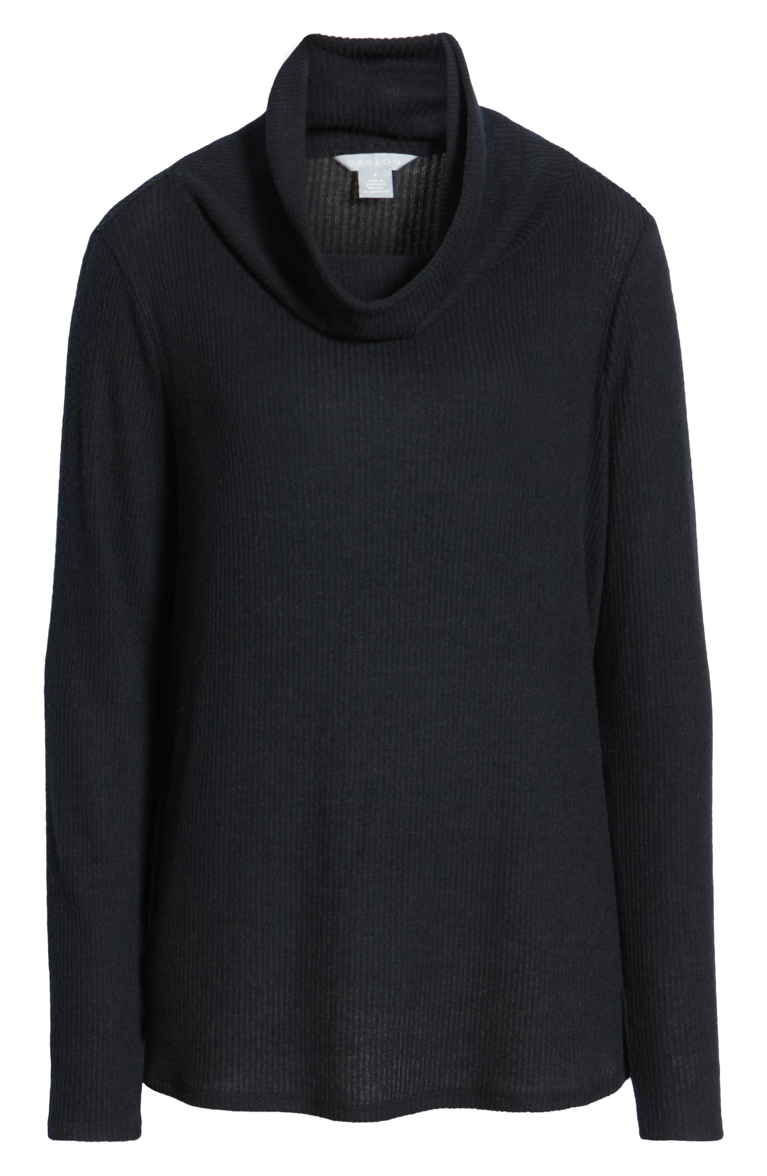Off-Duty Cozy Ribbed Tunic,                             Alternate thumbnail 6, color,                             BLACK