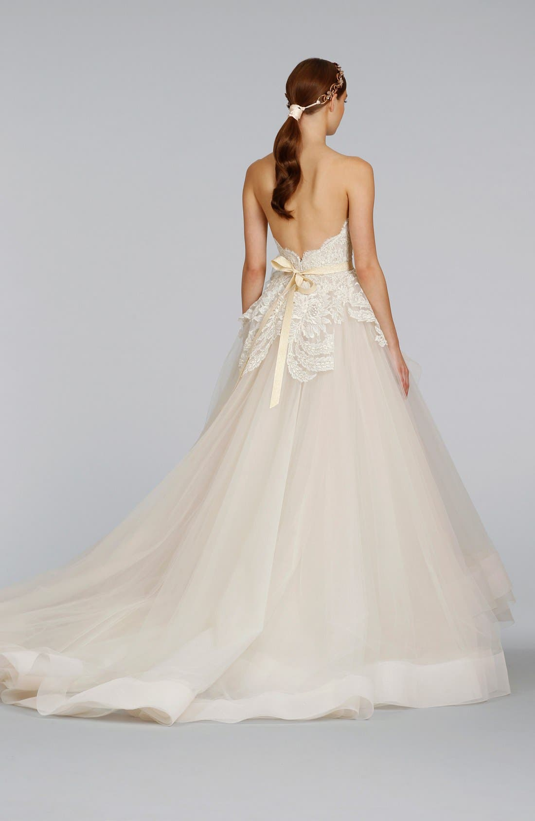 Strapless Lace & Layered Tulle Ballgown,                             Alternate thumbnail 3, color,                             IVORY/GOLD/CHAMPAGNE