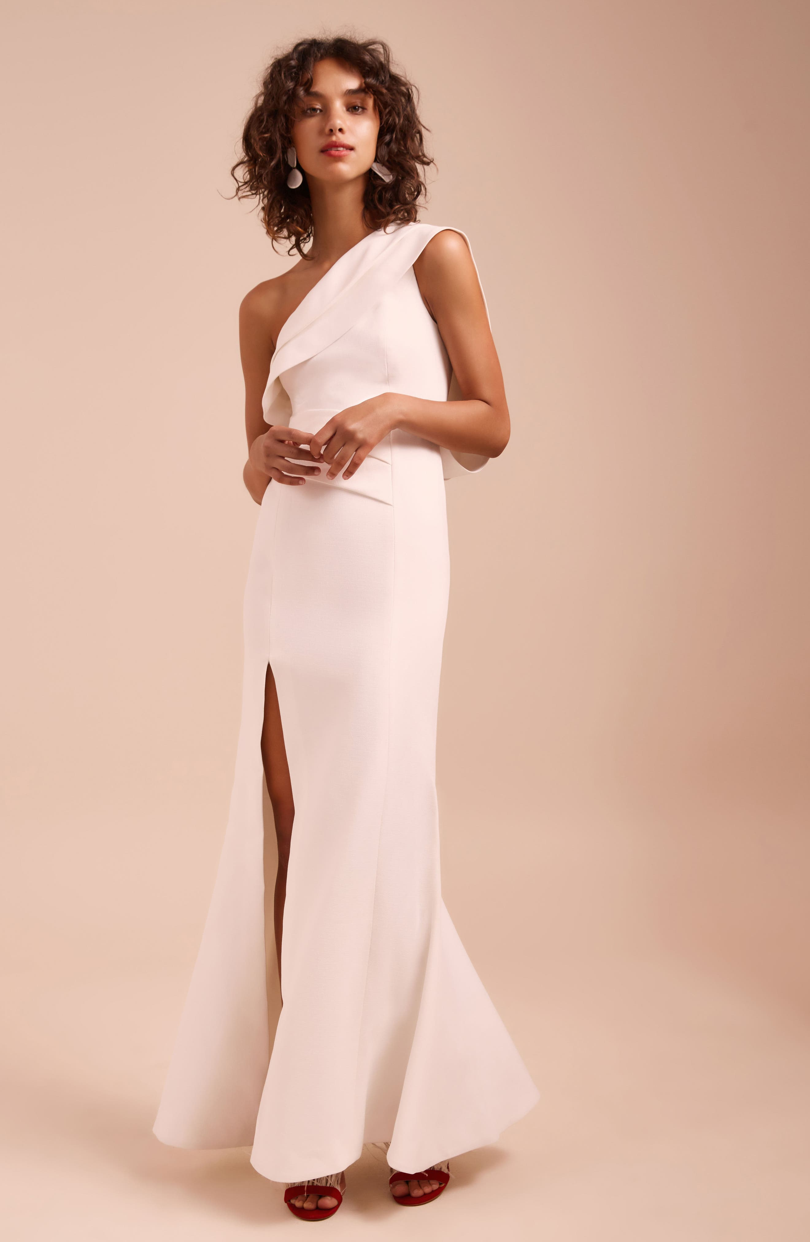 Be Moved One-Shoulder Gown,                             Alternate thumbnail 7, color,                             IVORY