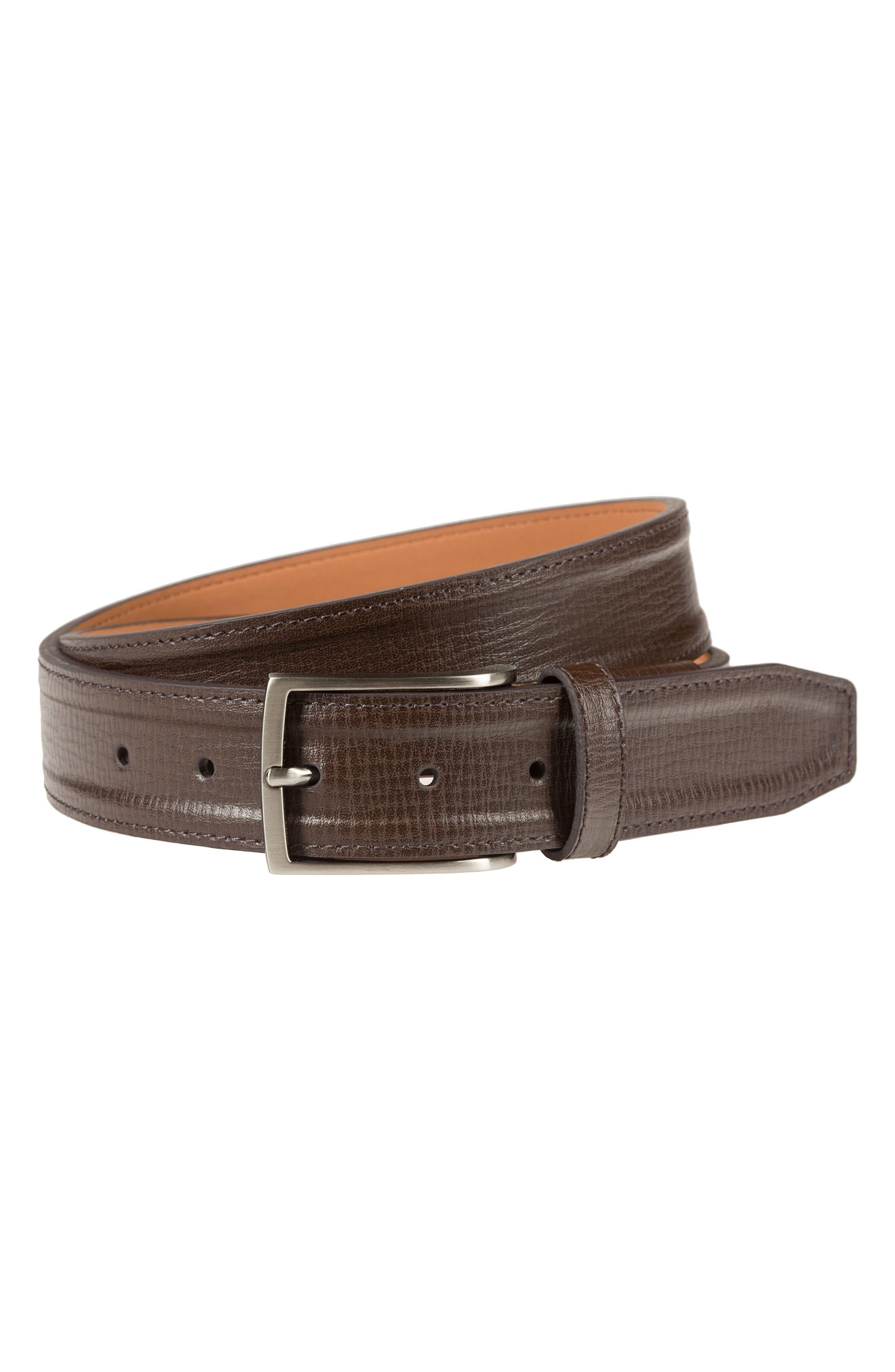 Trapunto G Flex Leather Belt,                         Main,                         color, BROWN