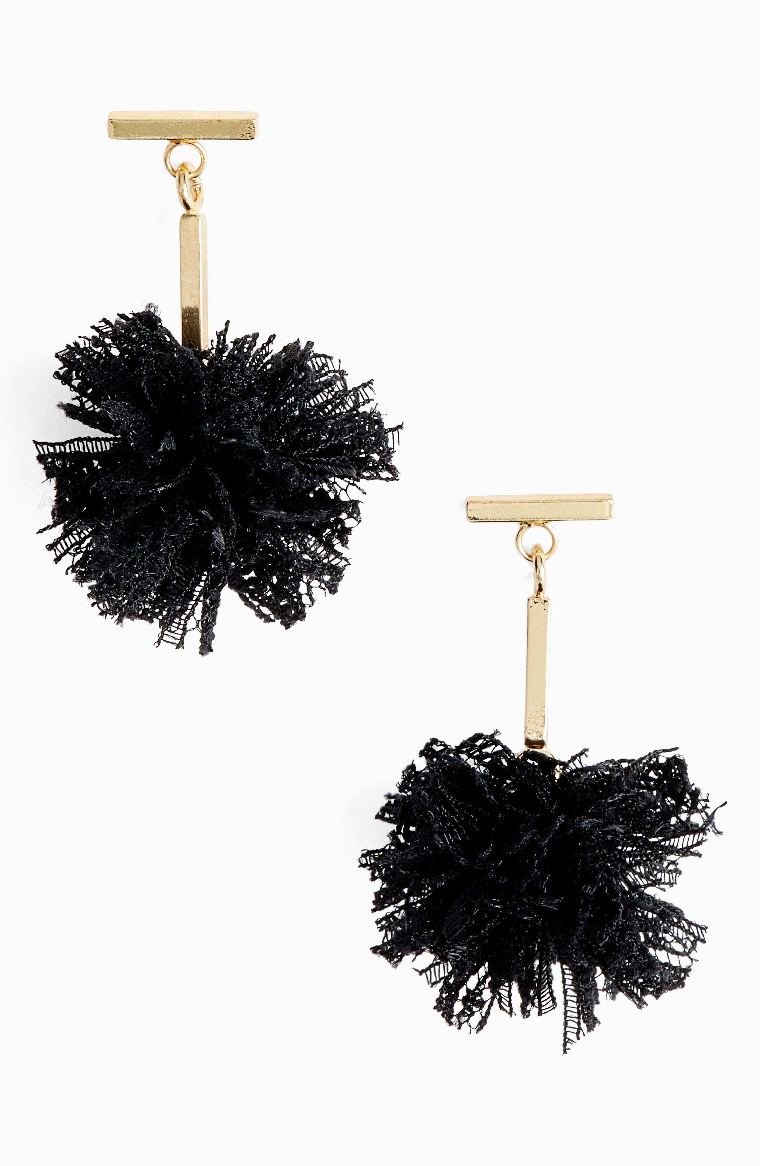TULESTE Lace Pom Pom T-Bar Stud Earrings in Gold/ Black
