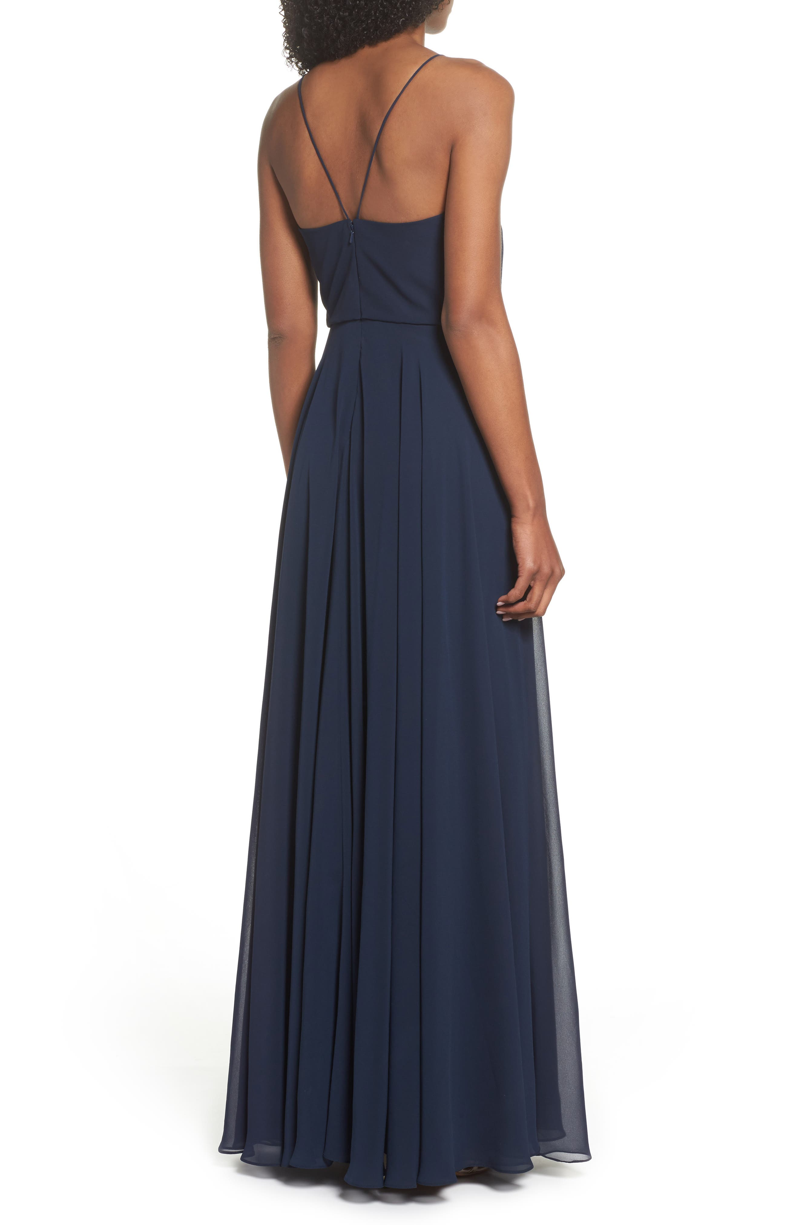 Inesse Chiffon V-Neck Spaghetti Strap Gown,                             Alternate thumbnail 2, color,                             NAVY