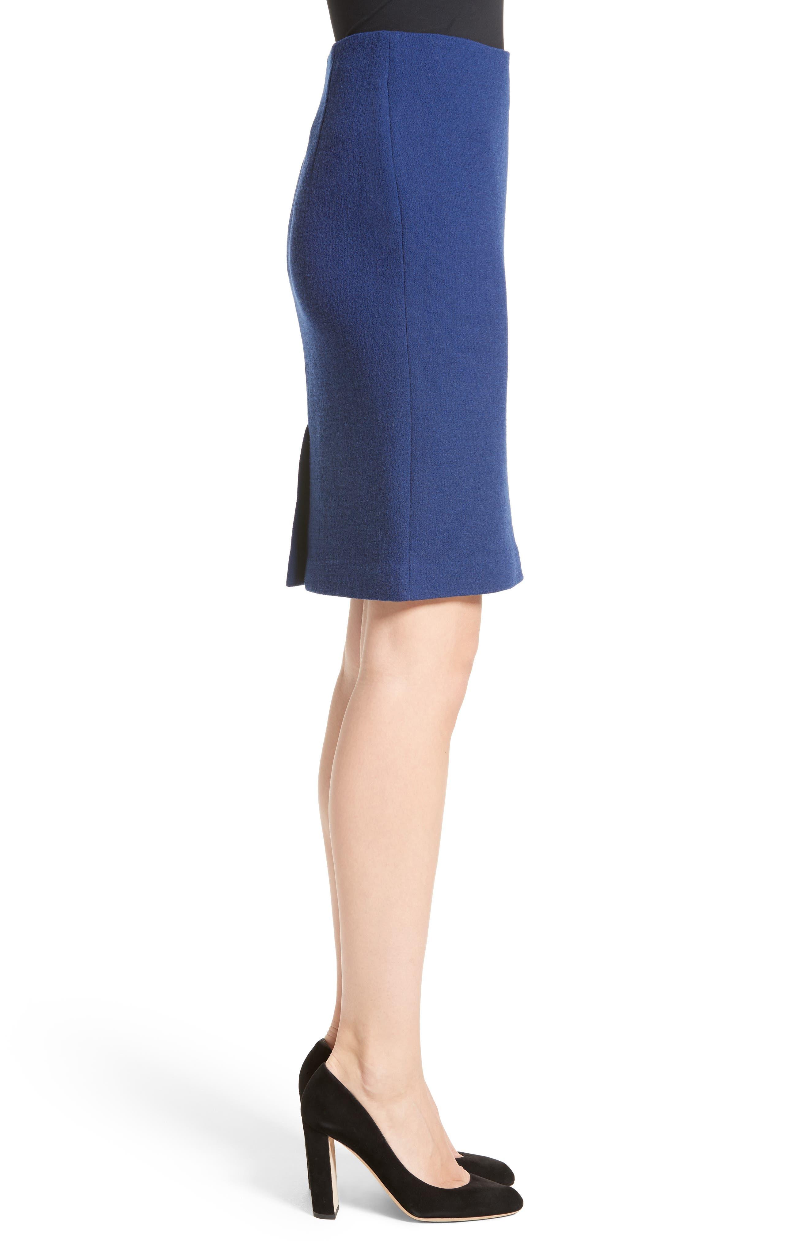 Double Crepe Pencil Skirt,                             Alternate thumbnail 3, color,                             400