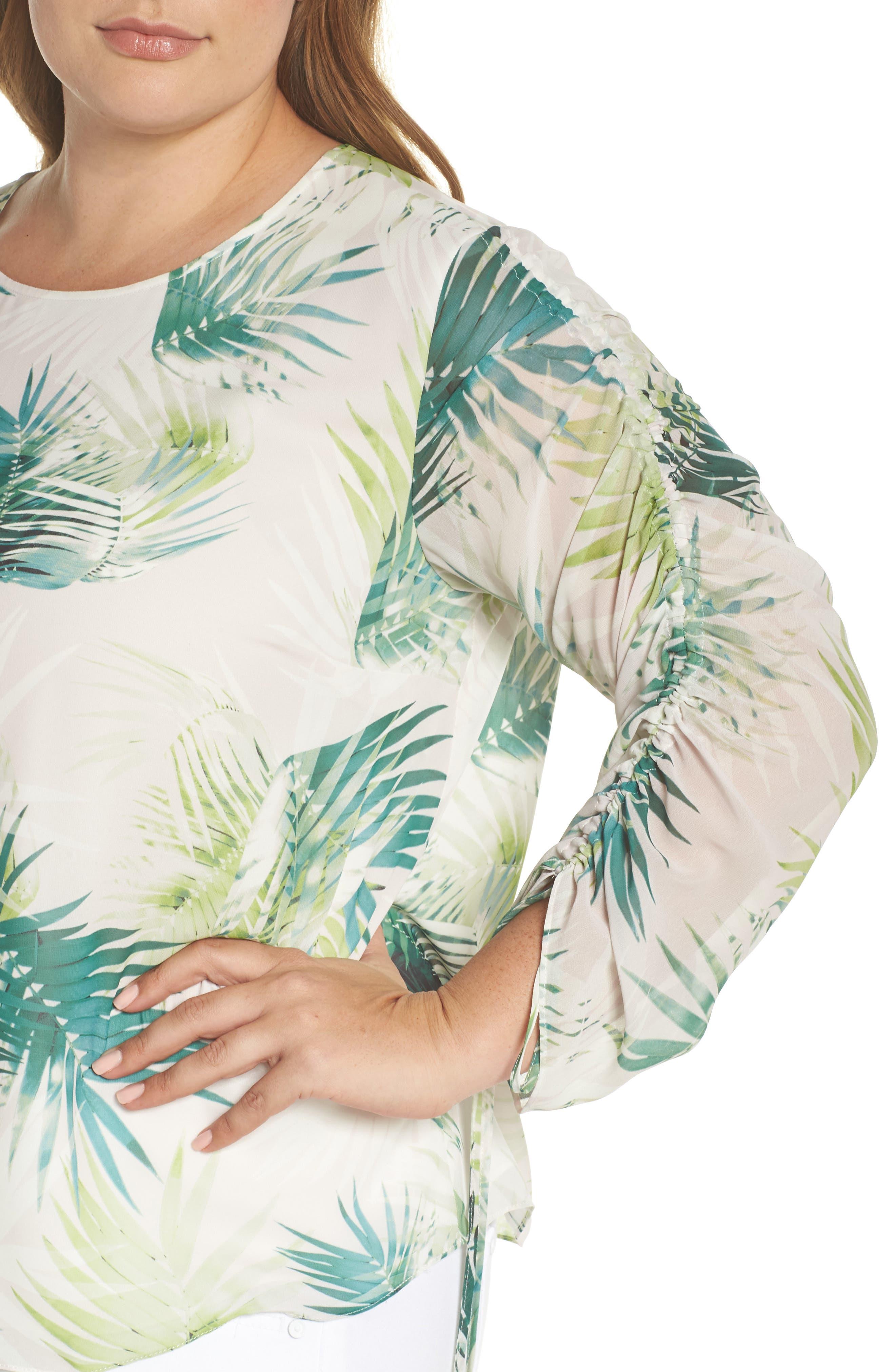 Drawstring Sleeve Sunlit Palm Print Top,                             Alternate thumbnail 4, color,                             336