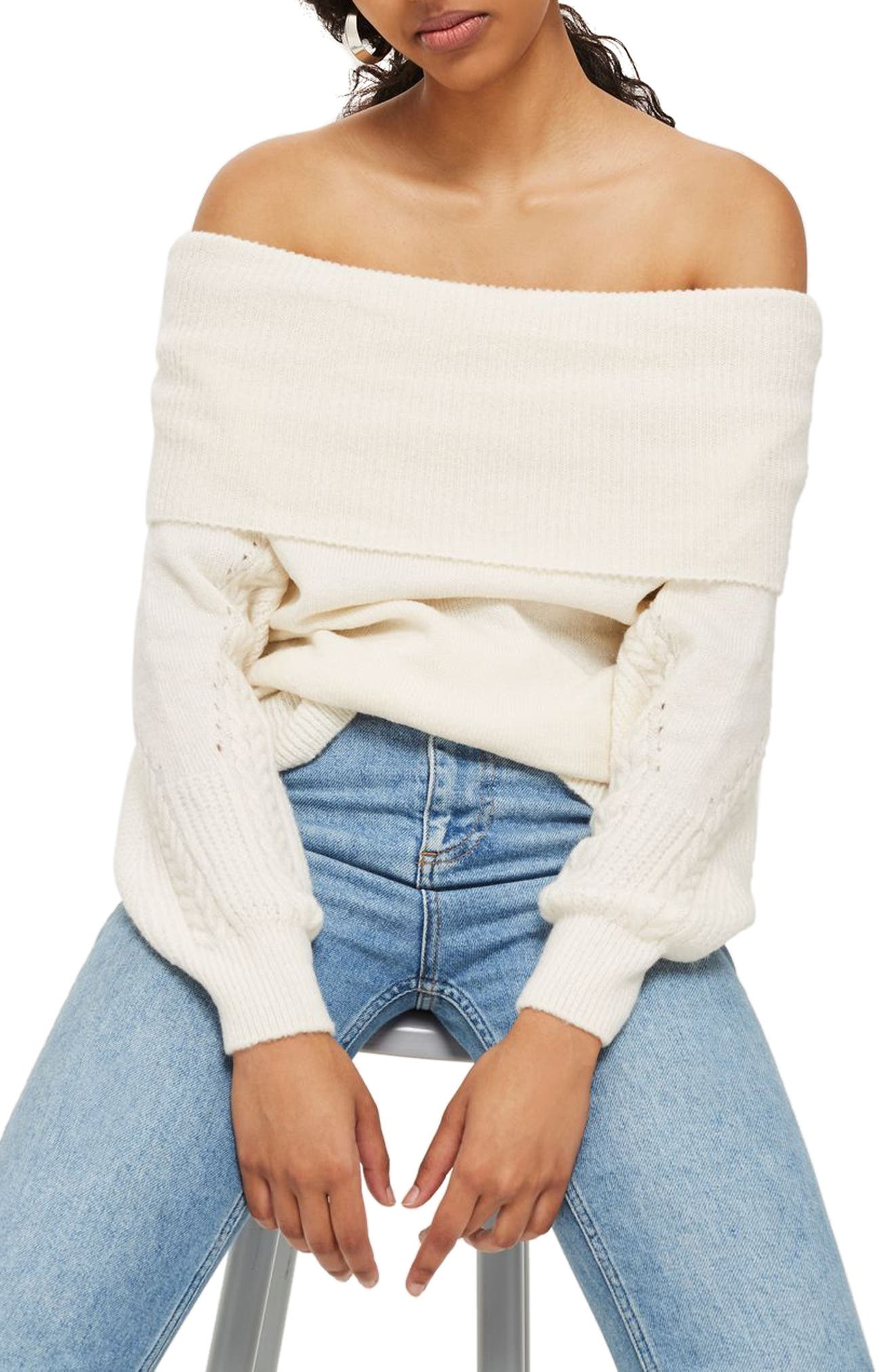 Balloon Sleeve Off the Shoulder Sweater,                             Alternate thumbnail 3, color,                             251
