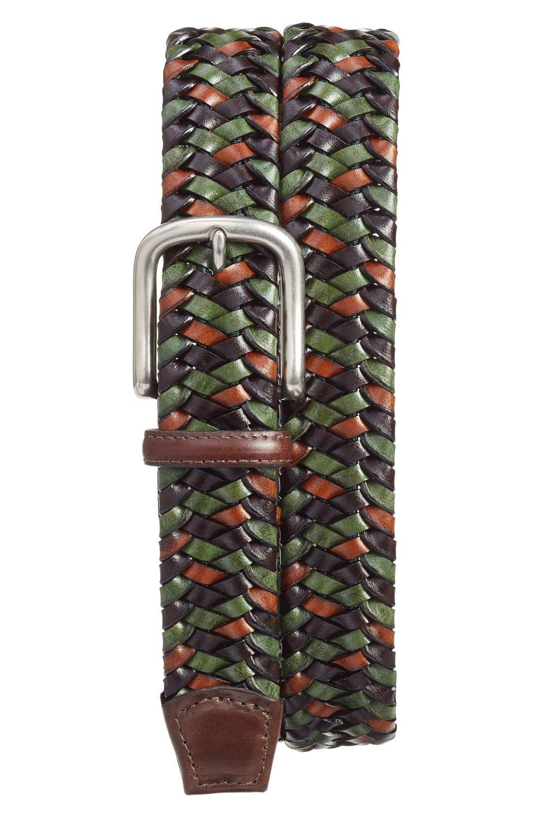 Torino Belts Woven Leather Belt, Green