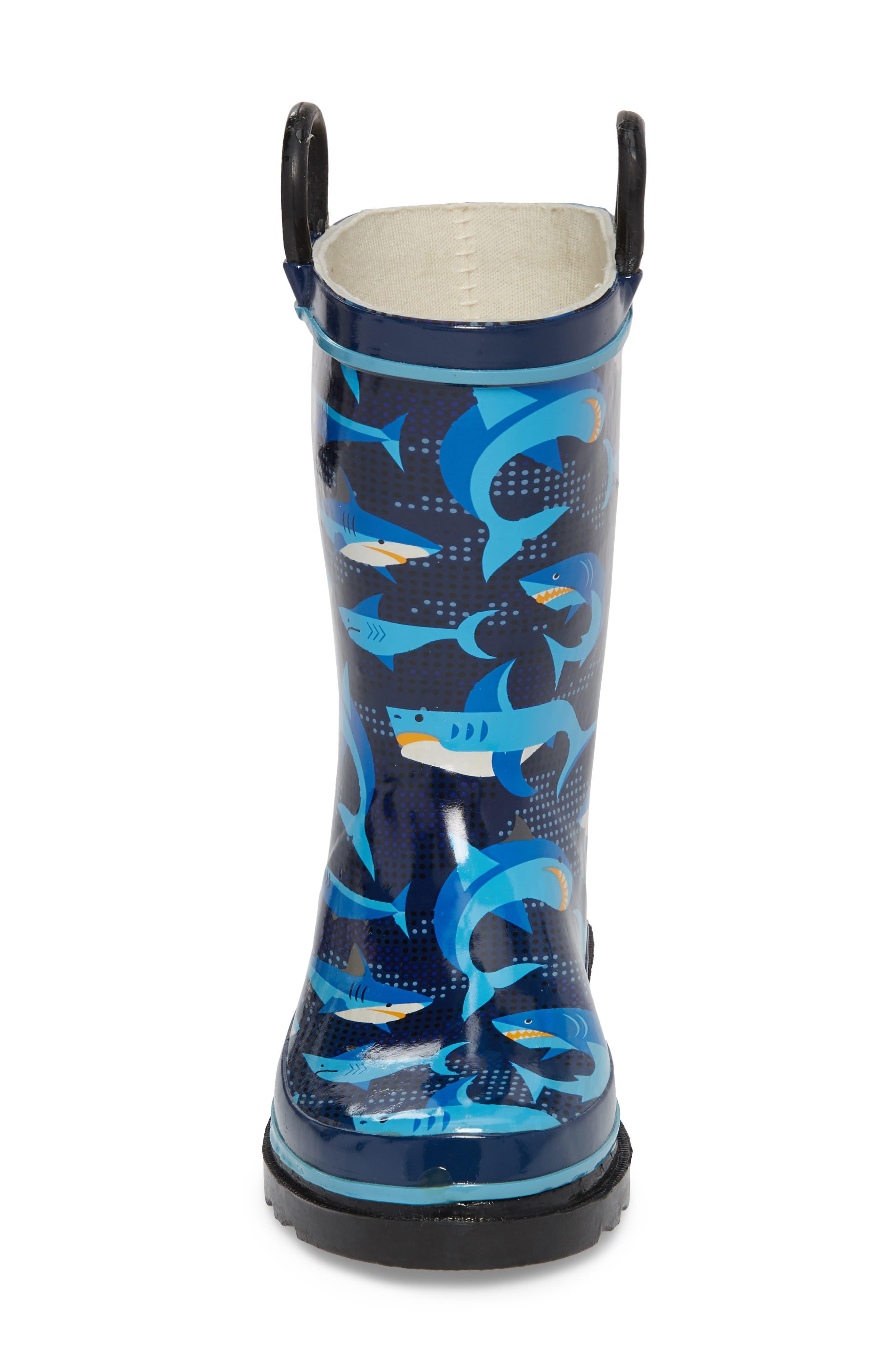 Pixel Shark Camo Rain Boot,                             Alternate thumbnail 4, color,                             NAVY