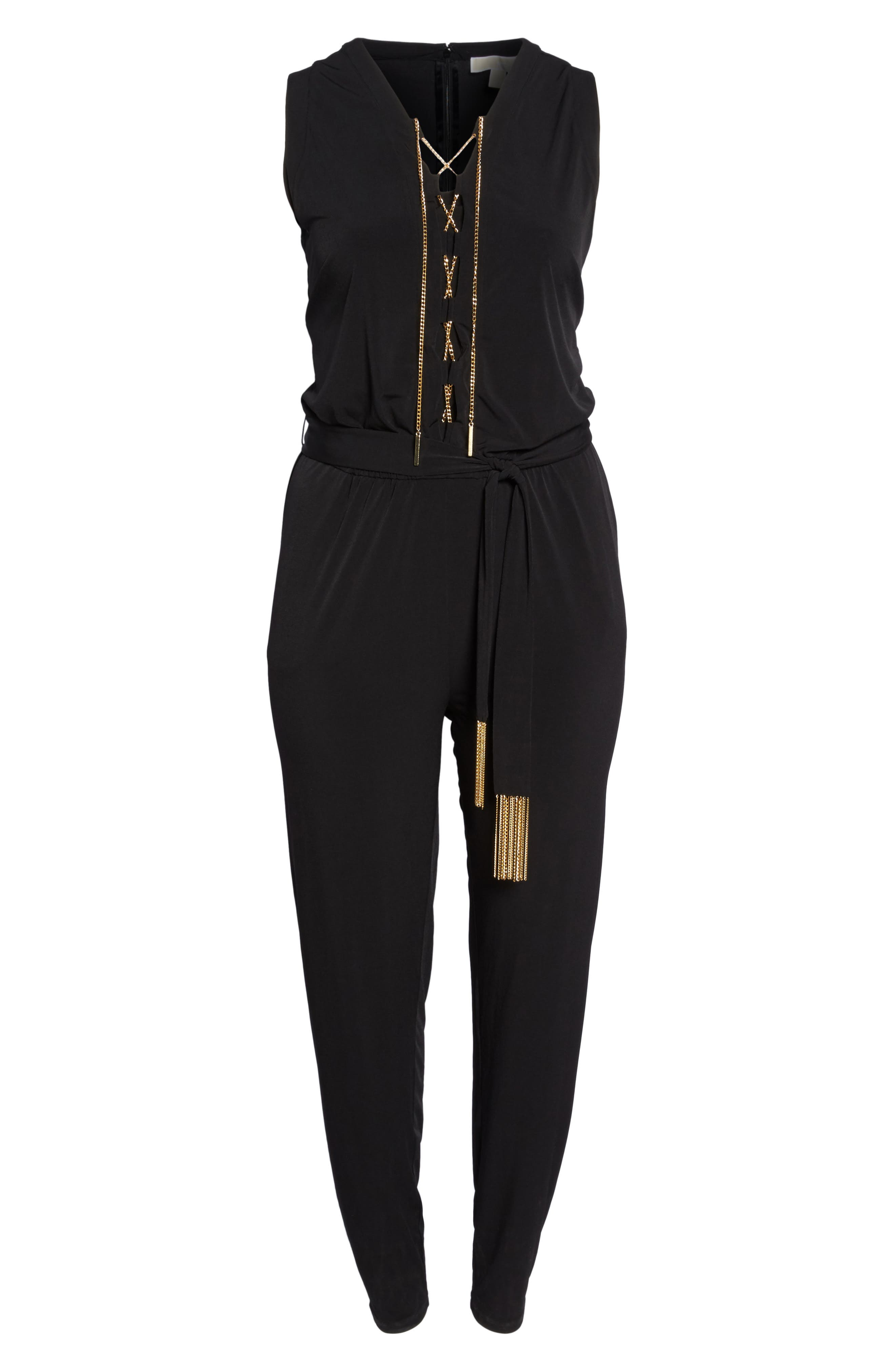 Lace-Up Sleeveless Jumpsuit,                             Alternate thumbnail 6, color,                             001