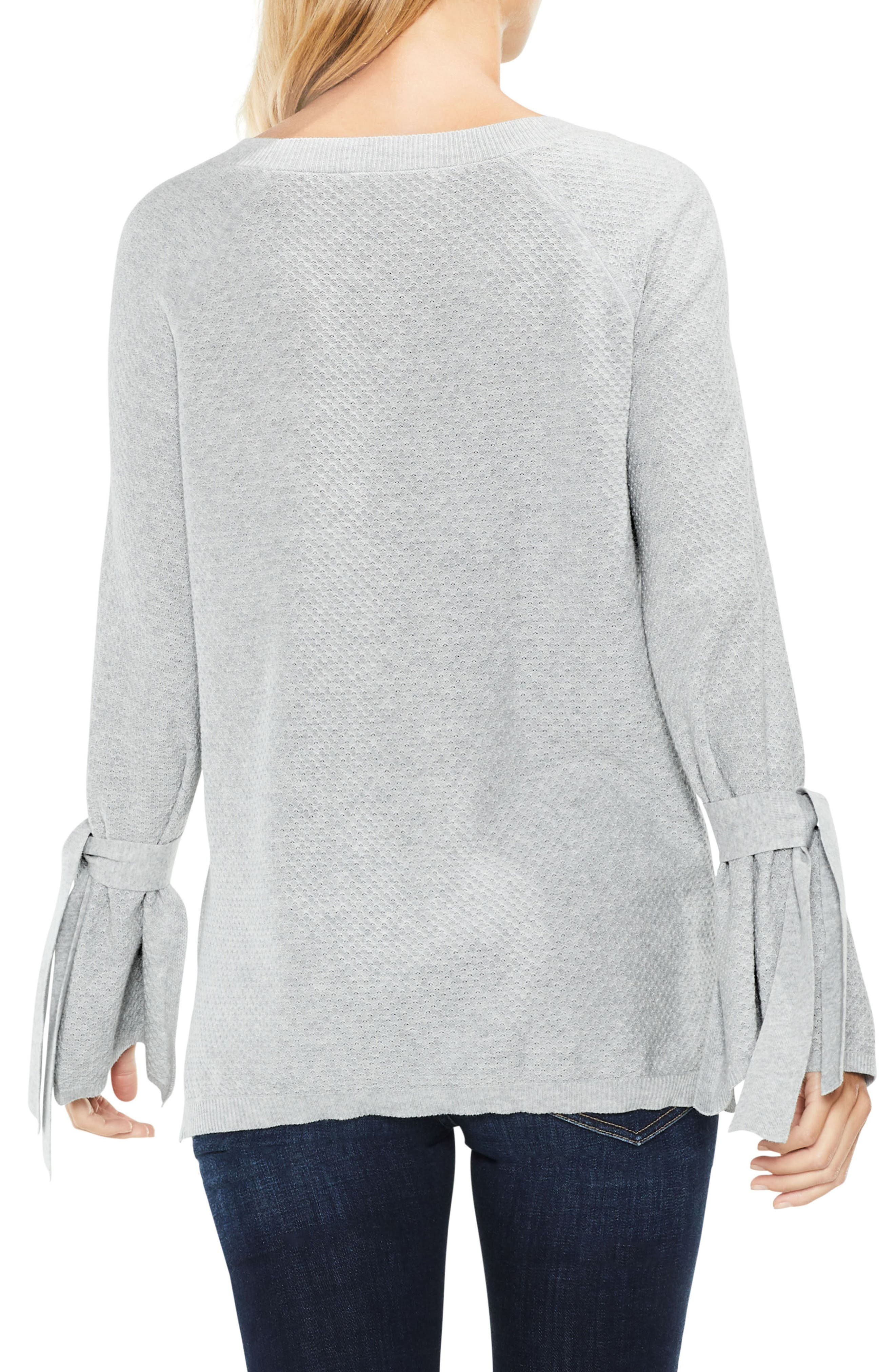 Texture Stitch Tie-Sleeve Top,                             Alternate thumbnail 2, color,                             050