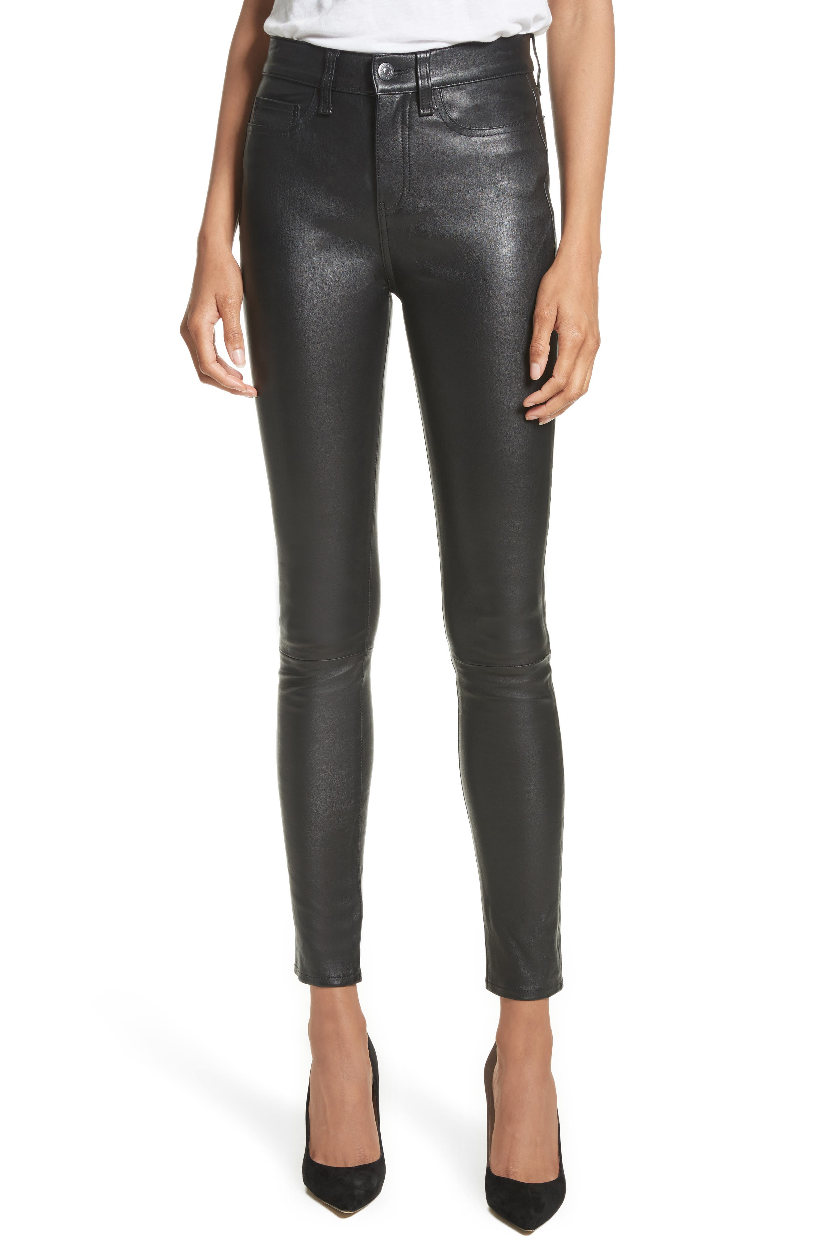Kate Lambskin Leather Pants, Main, color, 001
